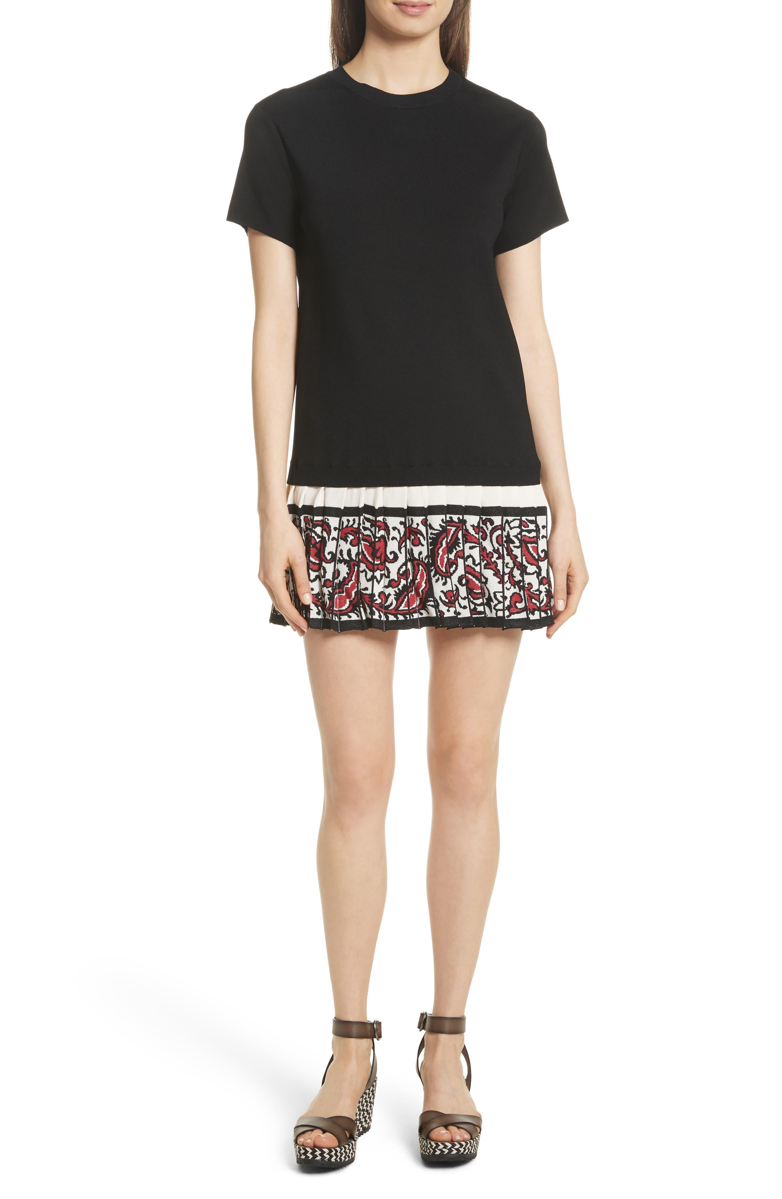 Pleated Hem T-Shirt Dress,                             Main thumbnail 1, color,                             001