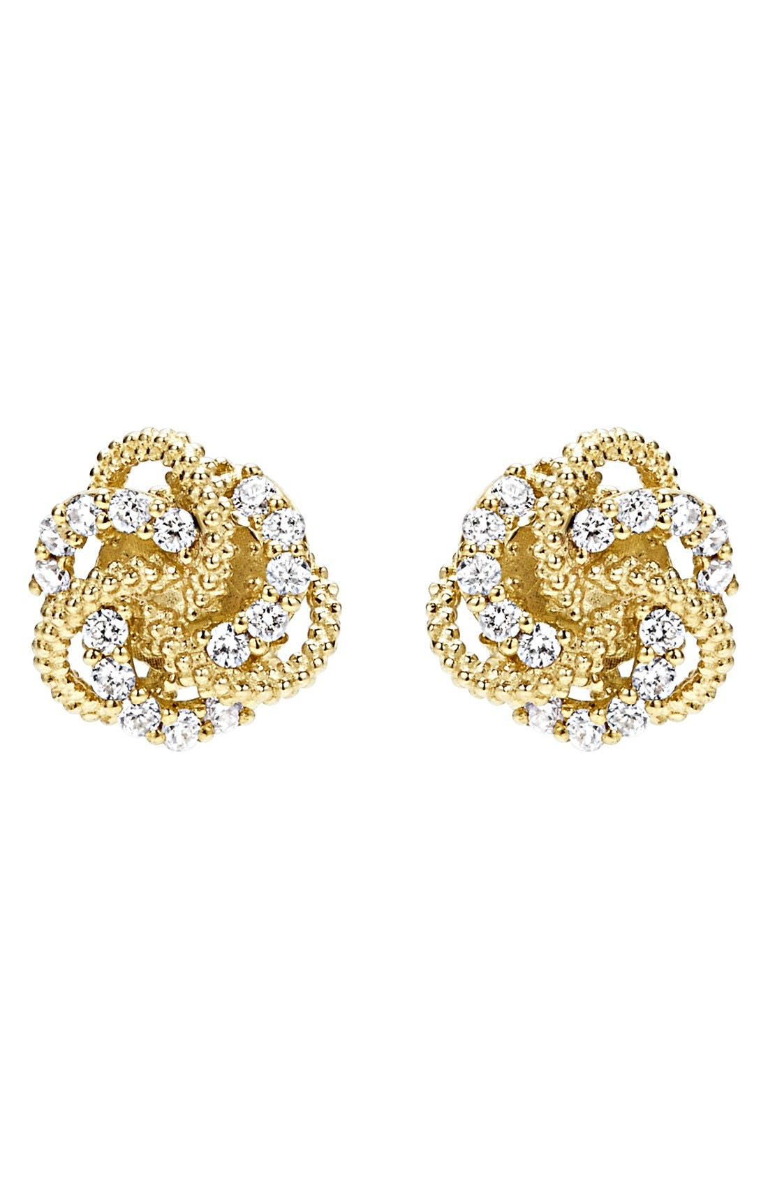 'Love Knot' Stud Earrings,                             Alternate thumbnail 3, color,                             GOLD
