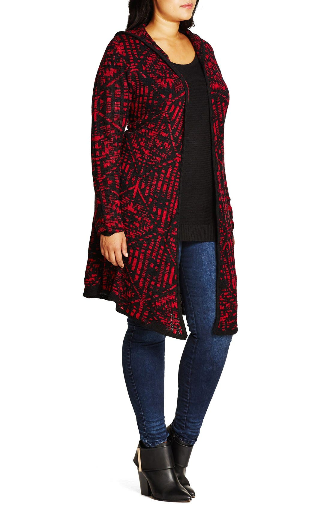 Geo Pattern Hooded Cardigan,                             Alternate thumbnail 7, color,