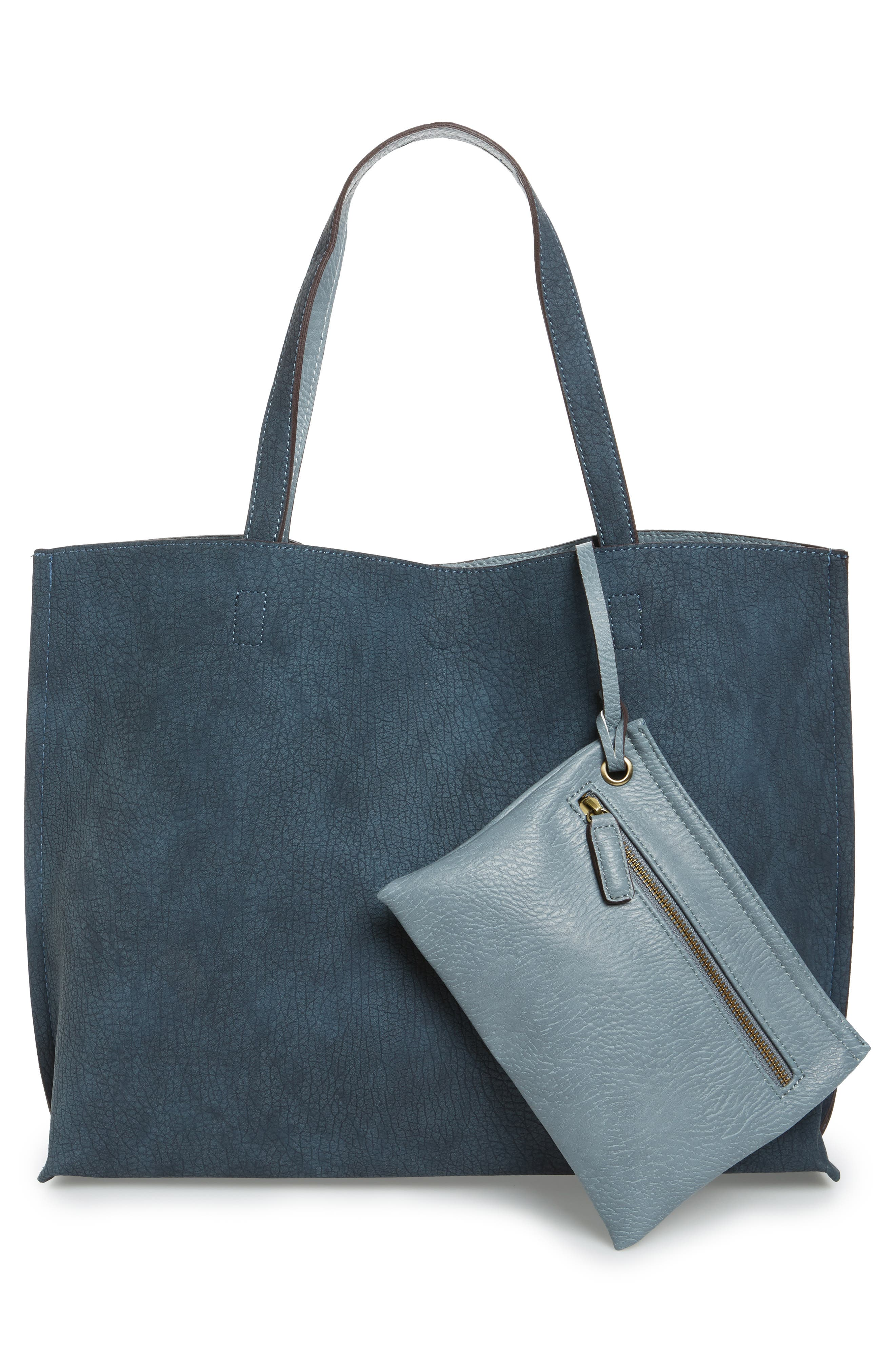 Reversible Faux Leather Tote,                             Alternate thumbnail 4, color,                             020