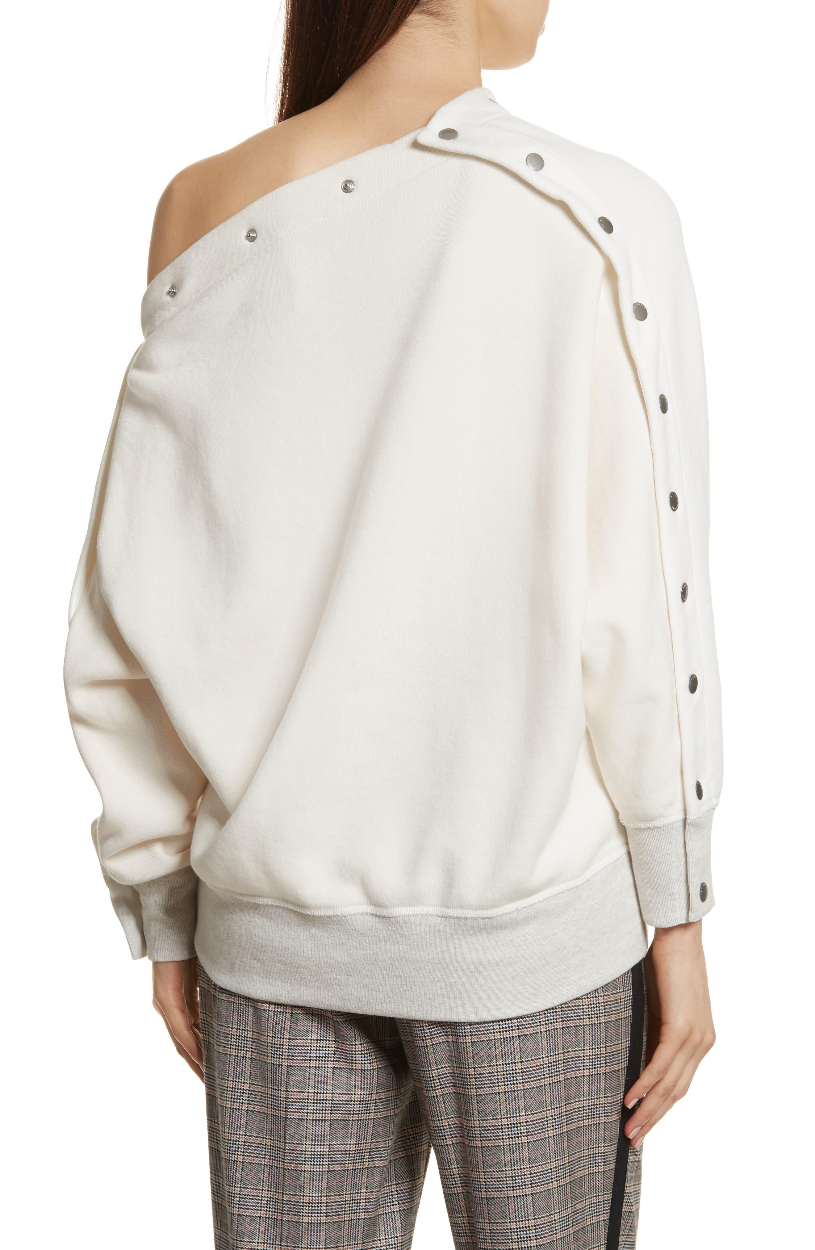 Kate Side Snap Cold Shoulder Sweatshirt,                             Alternate thumbnail 4, color,