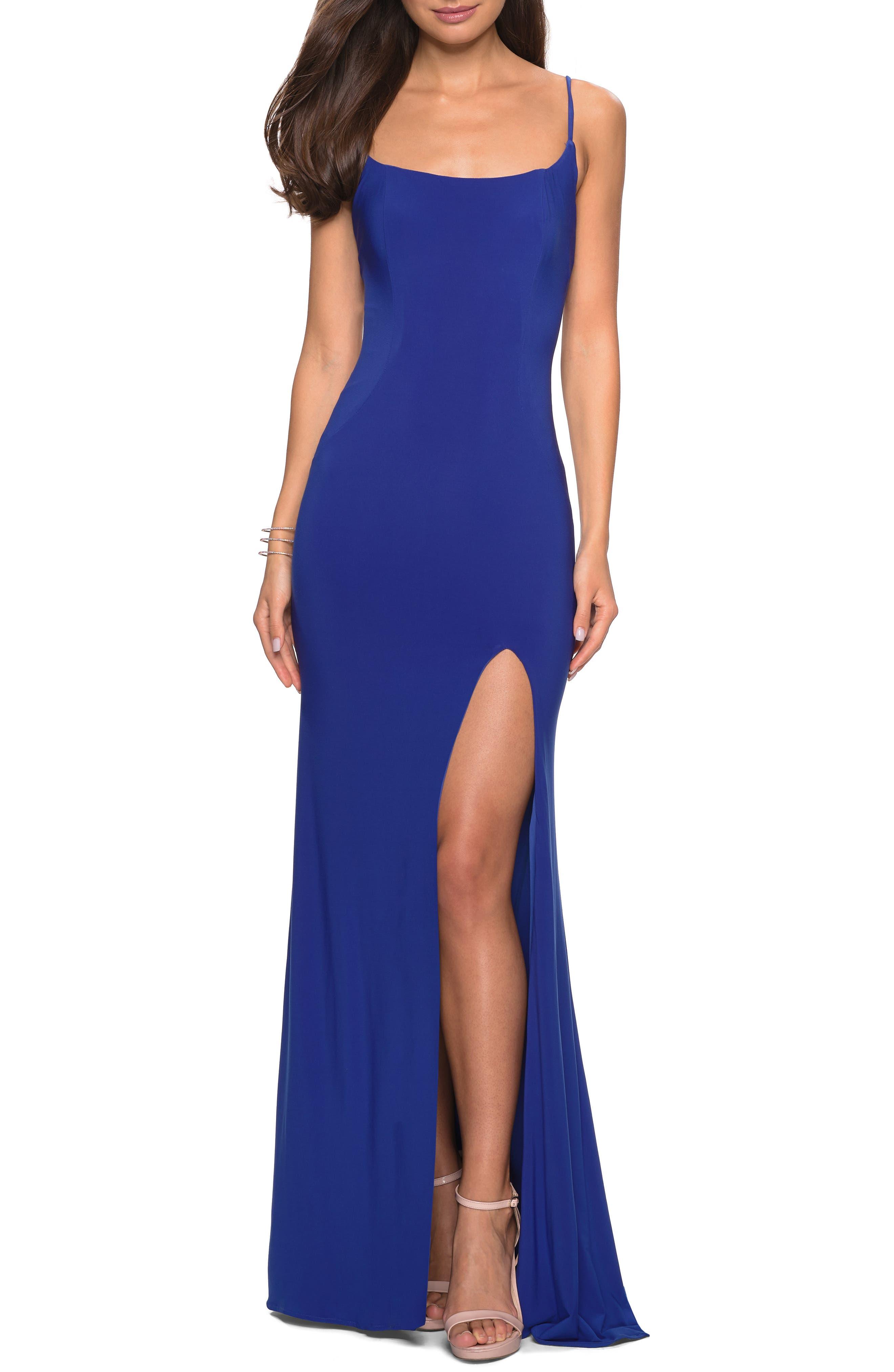 La Femme Strappy Back Jersey Evening Dress, Blue