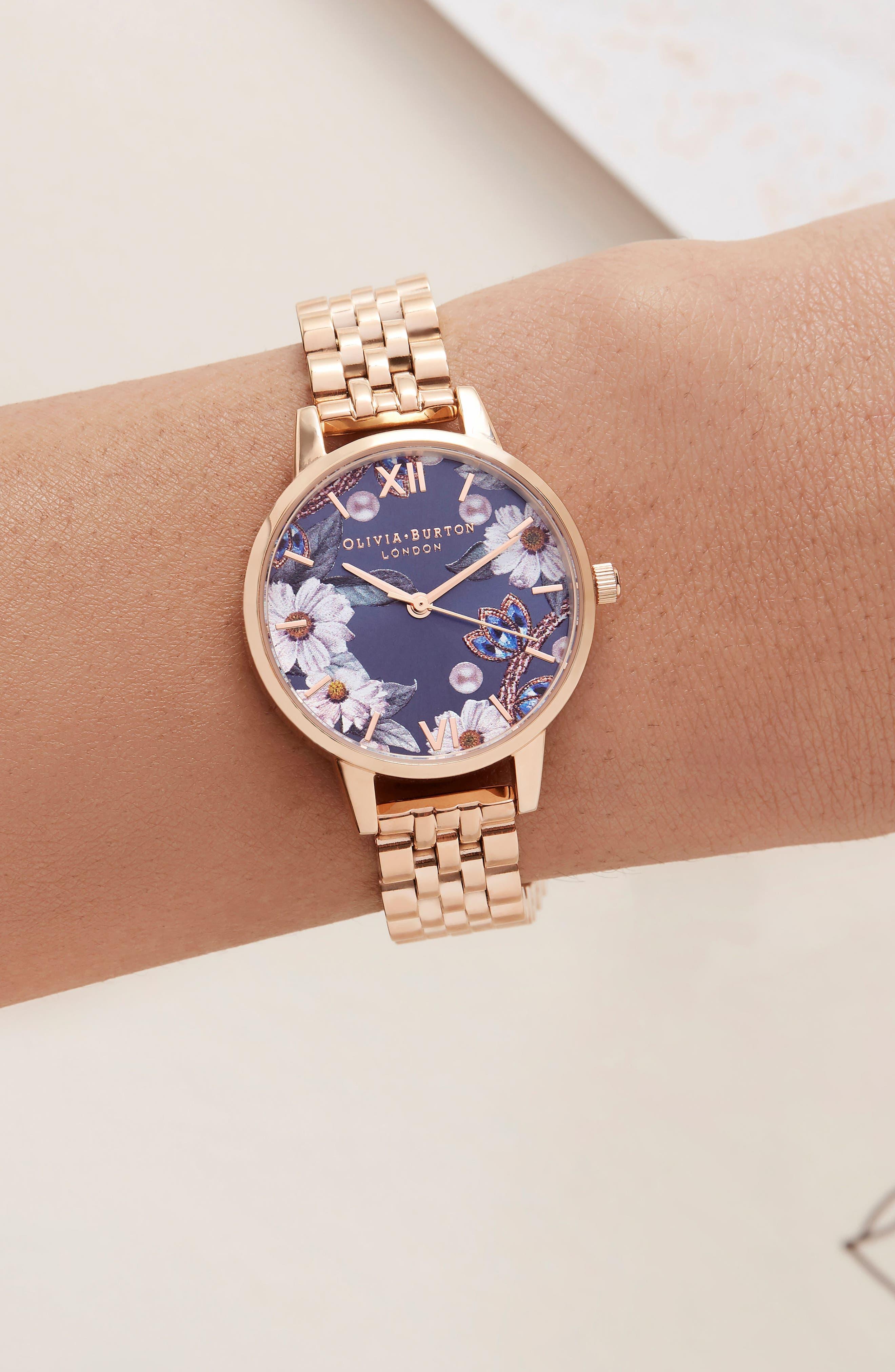 Bejewelled Floral Bracelet Watch, 30mm,                             Alternate thumbnail 7, color,                             ROSE GOLD
