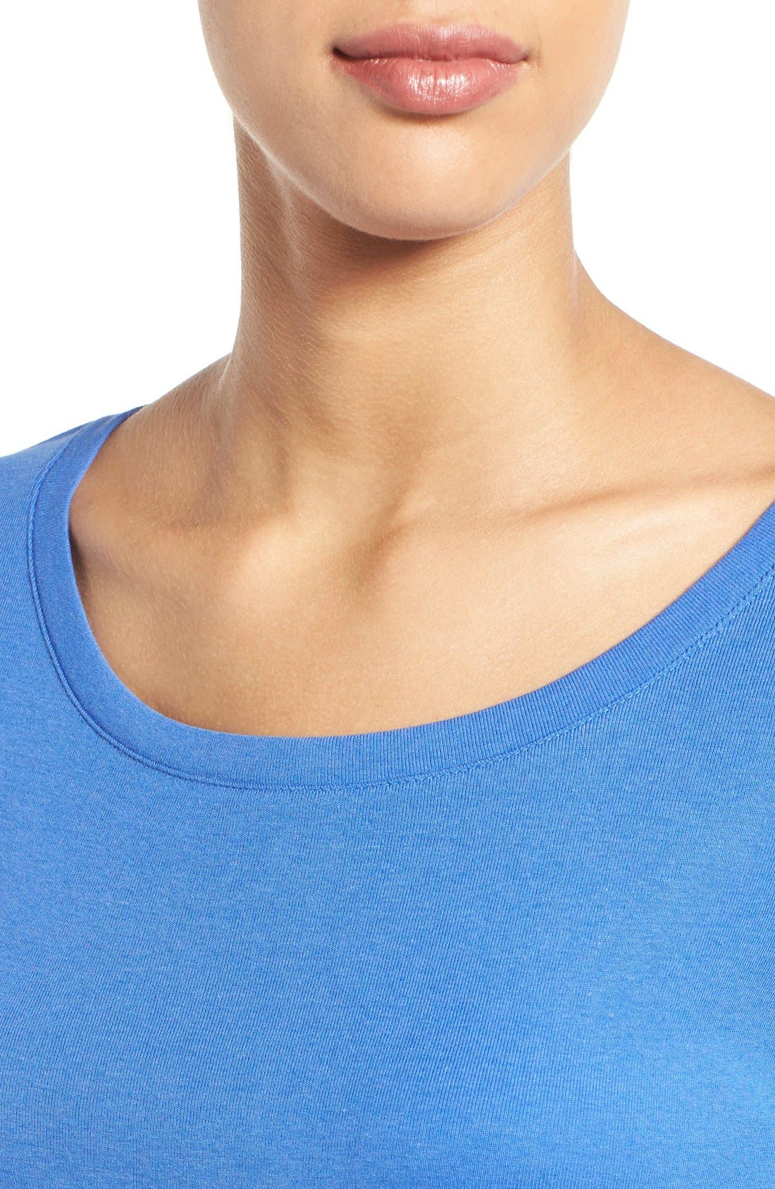 Ballet Neck Cotton & Modal Knit Elbow Sleeve Tee,                             Alternate thumbnail 82, color,