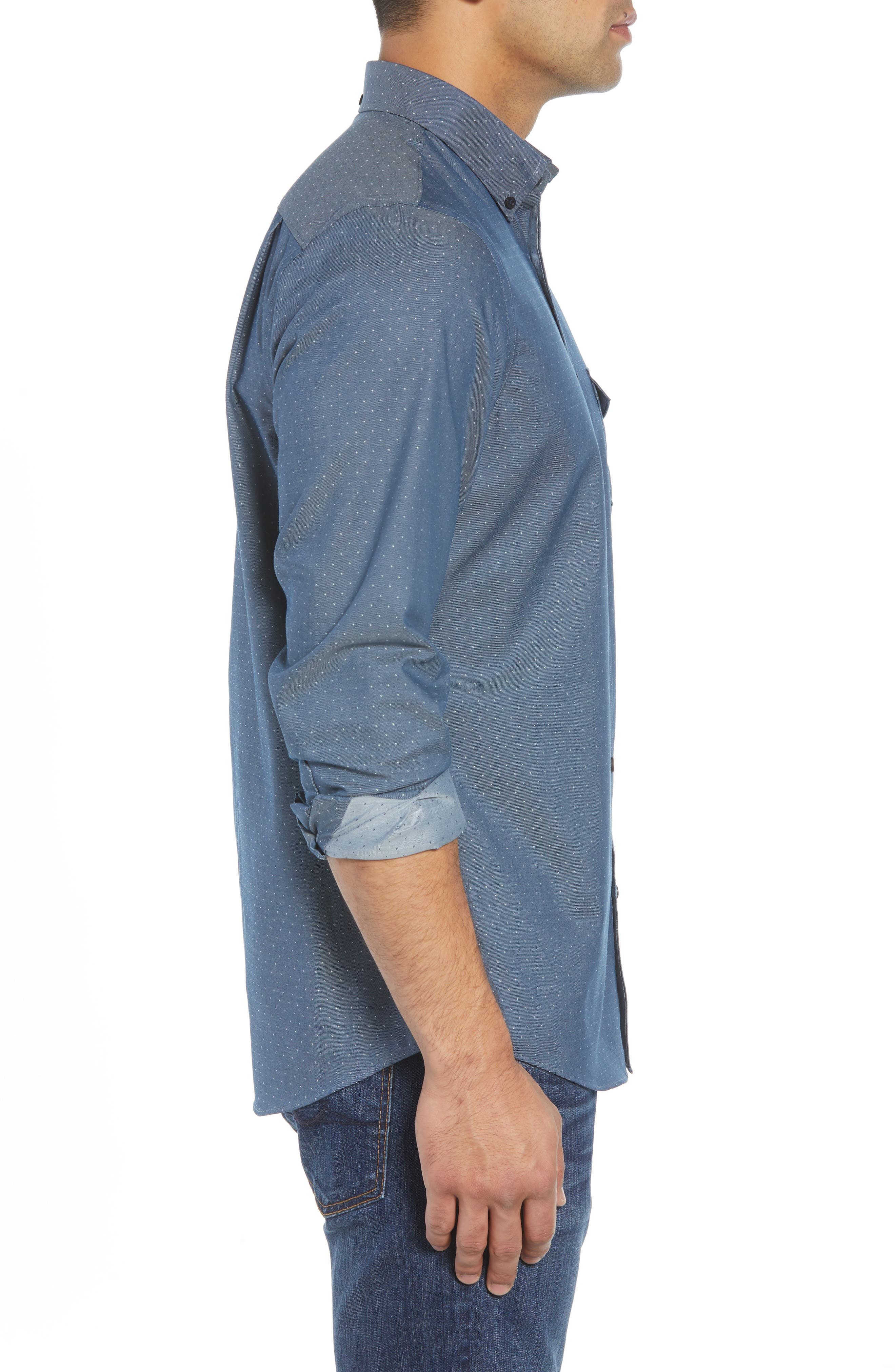 Regular Fit Dobby No-Iron Sport Shirt,                             Alternate thumbnail 3, color,                             NAVY ARMADA CHAMBRAY DOBBY