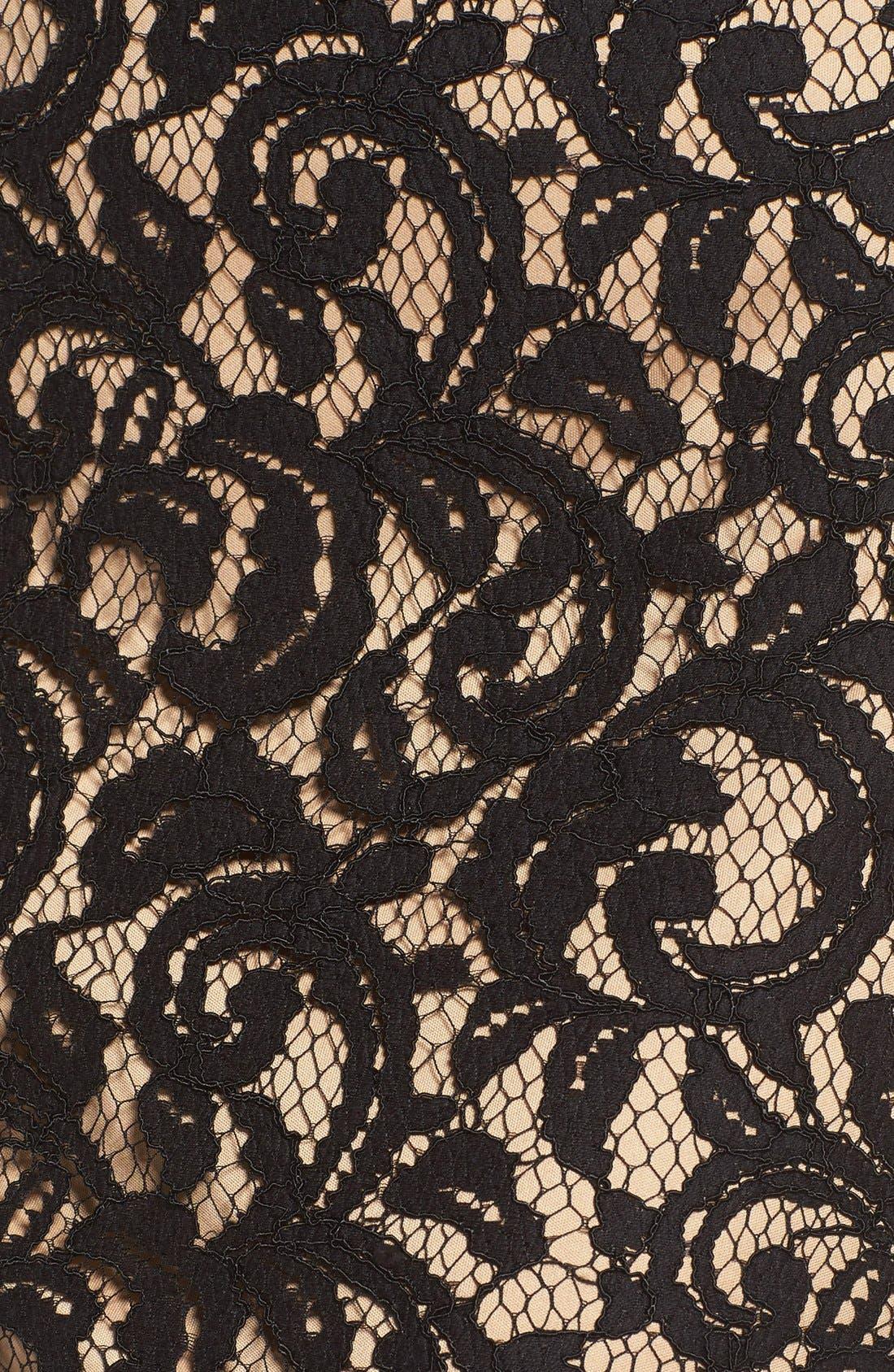 Pleat Waist Lace Blouson Dress,                             Alternate thumbnail 6, color,                             004