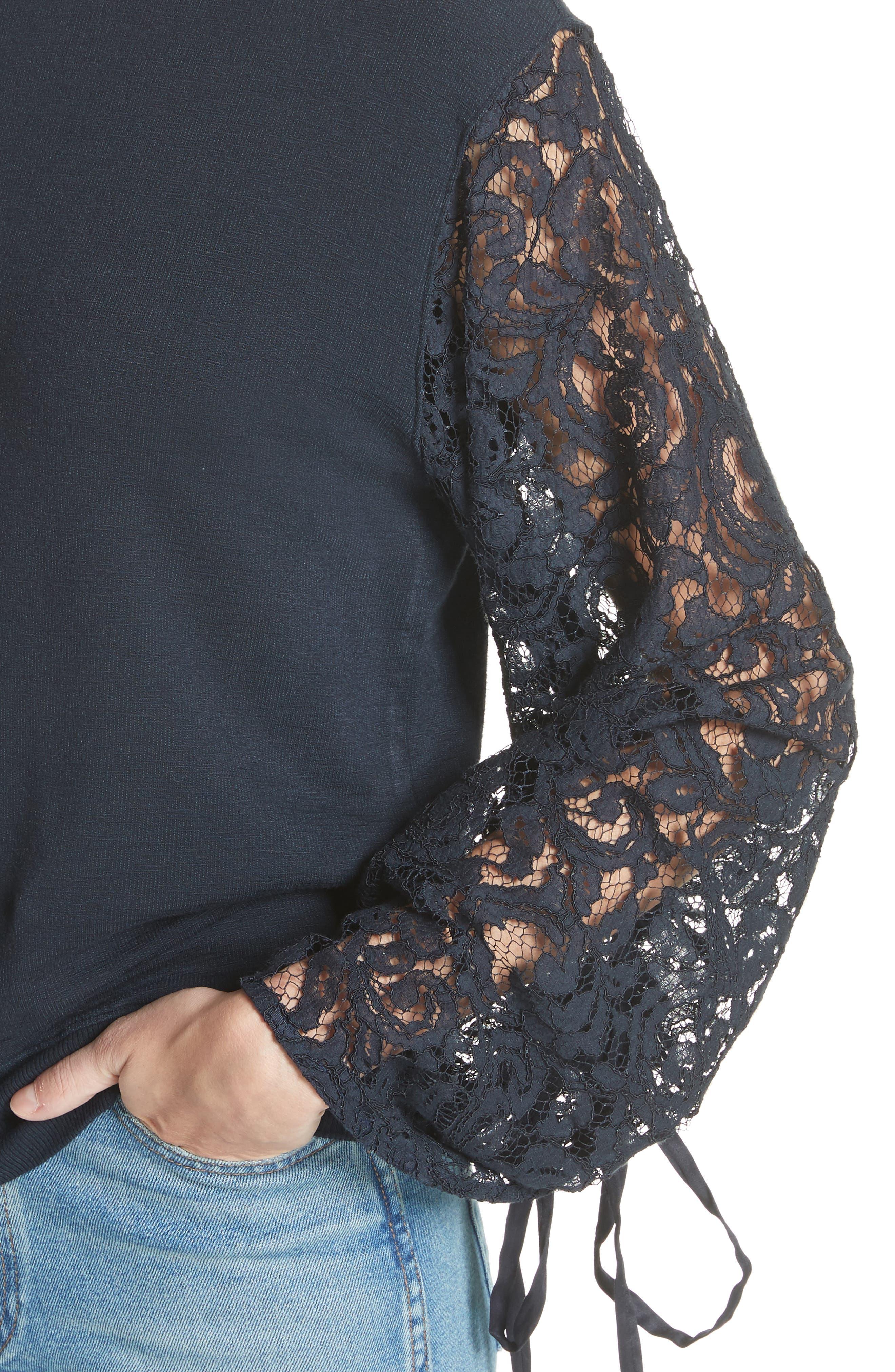 CLU,                             Lace Sleeve Sweatshirt,                             Alternate thumbnail 4, color,                             491