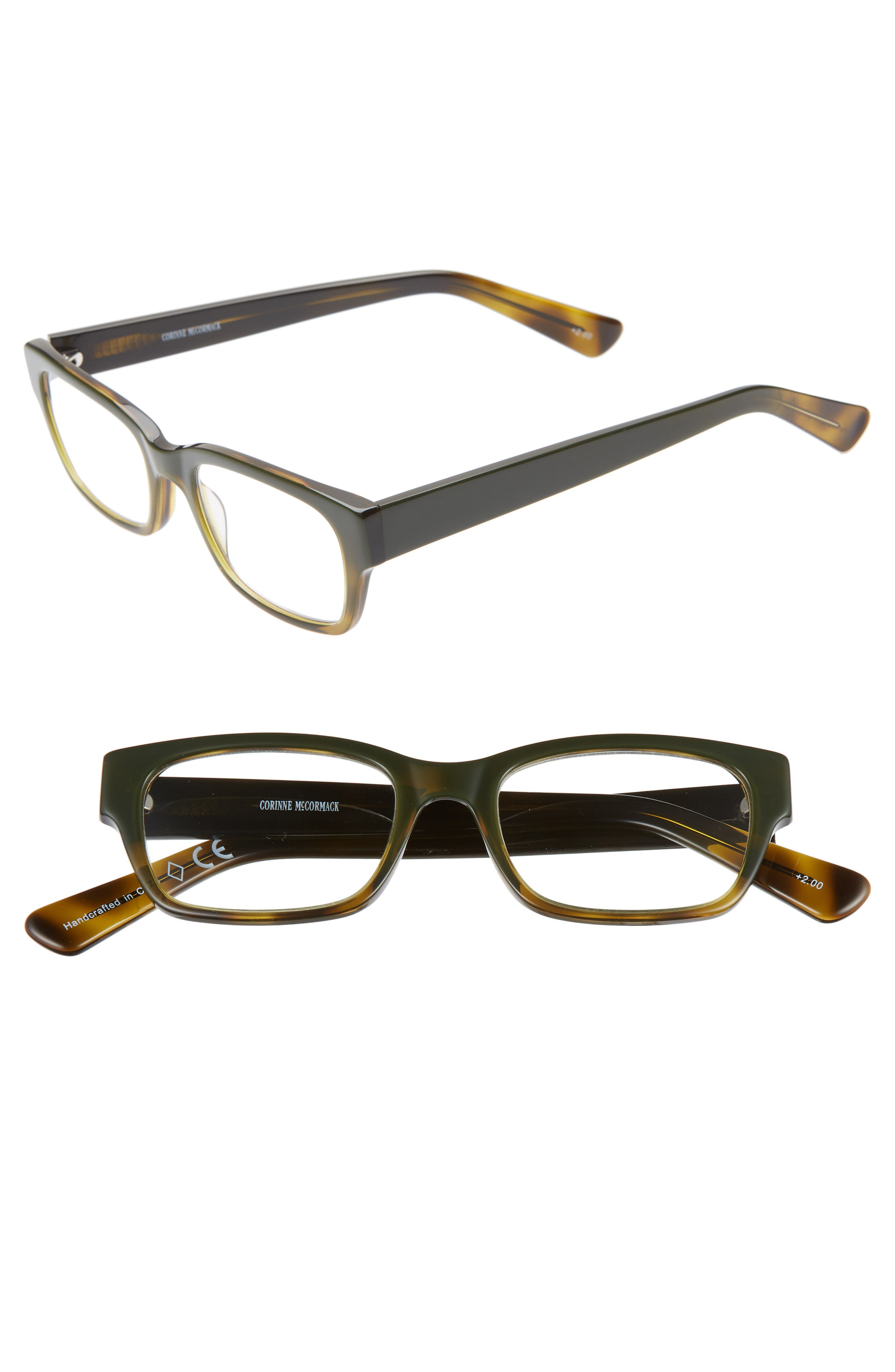 'Sydney' 51mm Reading Glasses,                         Main,                         color, BLACK/ GREEN FADE