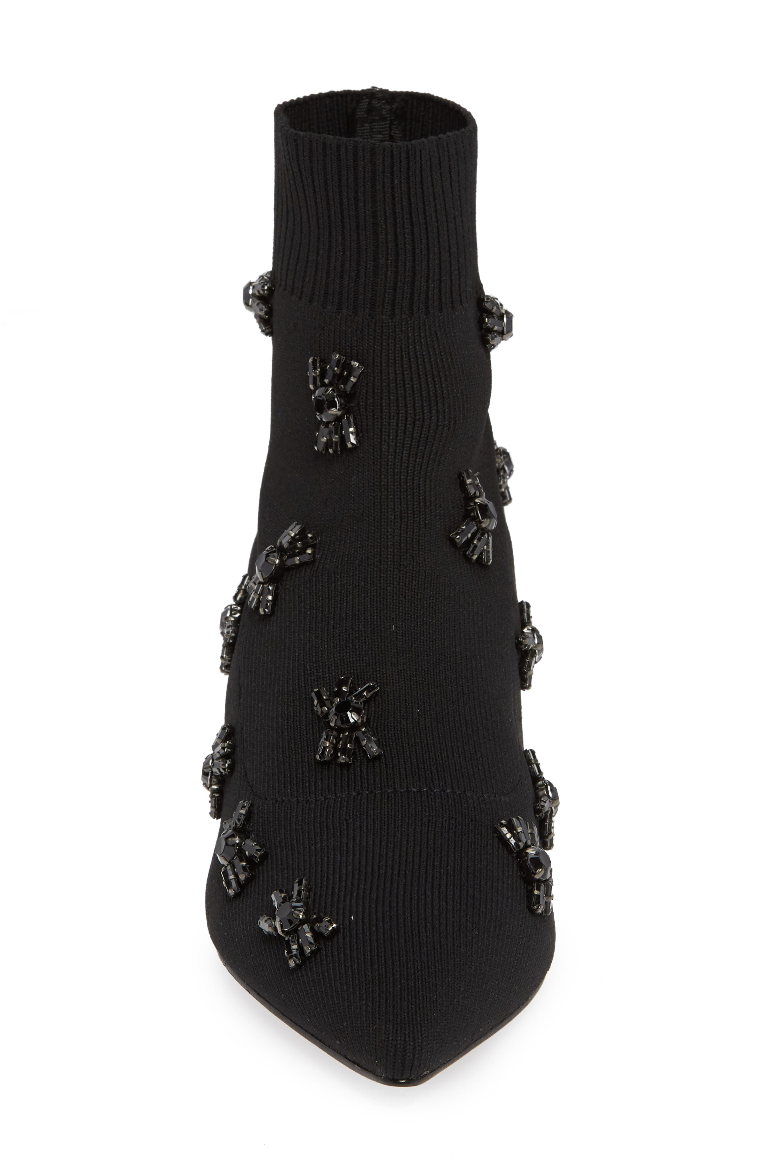 Betti Embellished Sock Bootie,                             Alternate thumbnail 4, color,                             BLACK KNIT FABRIC