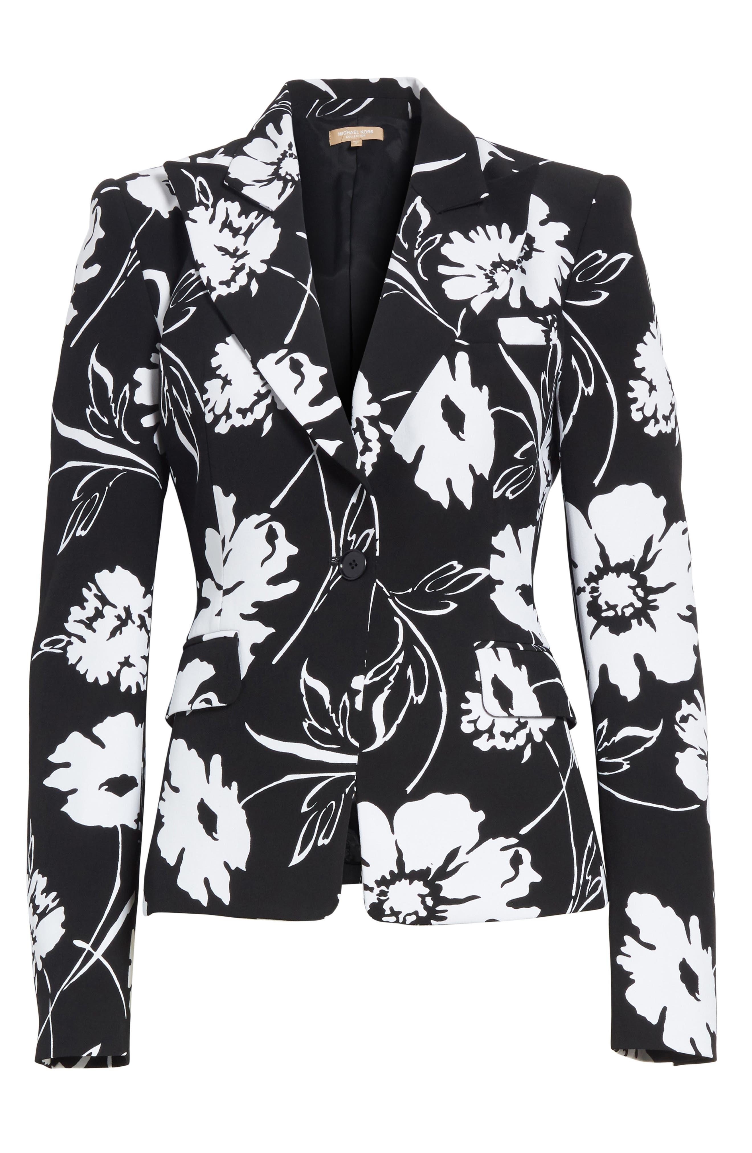 Floral Print Blazer,                             Alternate thumbnail 5, color,                             003