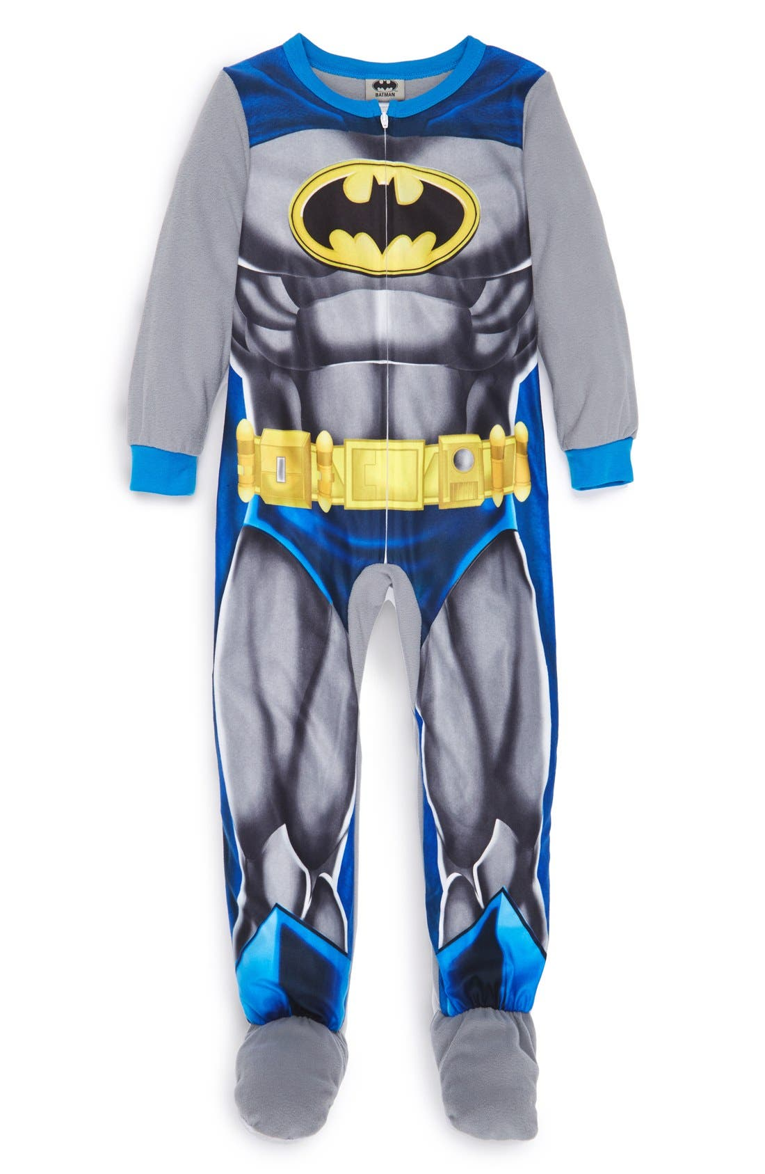 'Batman' Footed Sleeper Pajamas,                             Main thumbnail 1, color,                             960