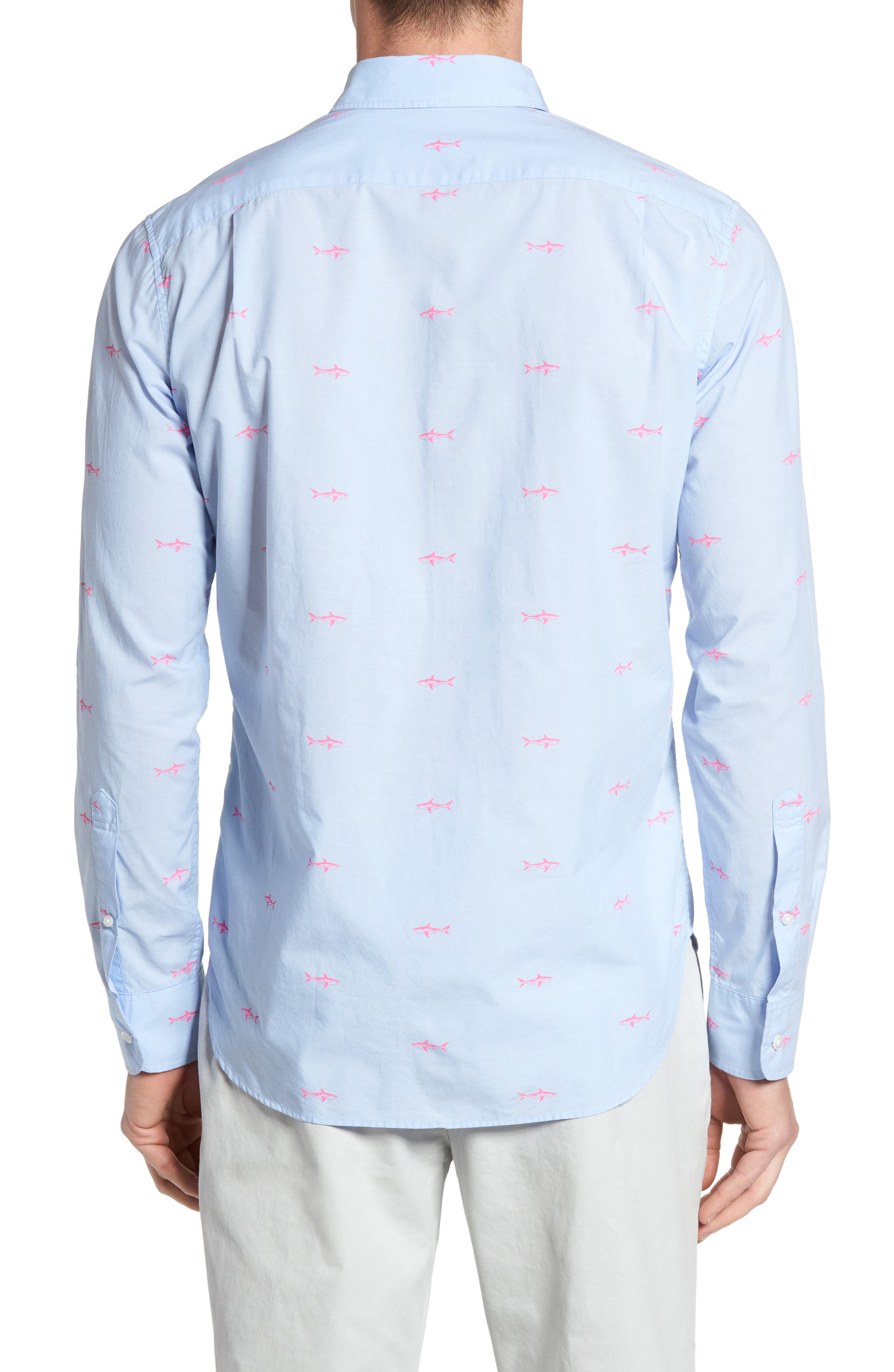 Slim Fit Summerweight Shark Print Sport Shirt,                             Alternate thumbnail 2, color,                             400