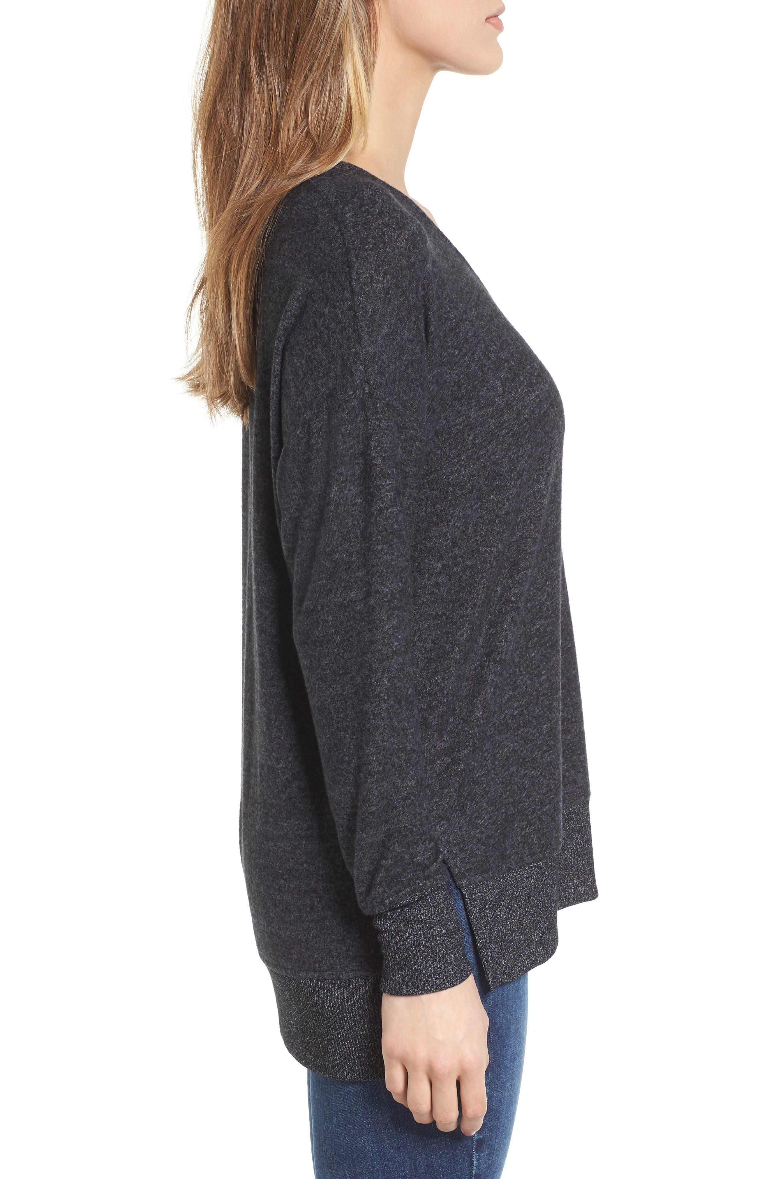 Cozy Sweatshirt,                             Alternate thumbnail 3, color,                             BLACK