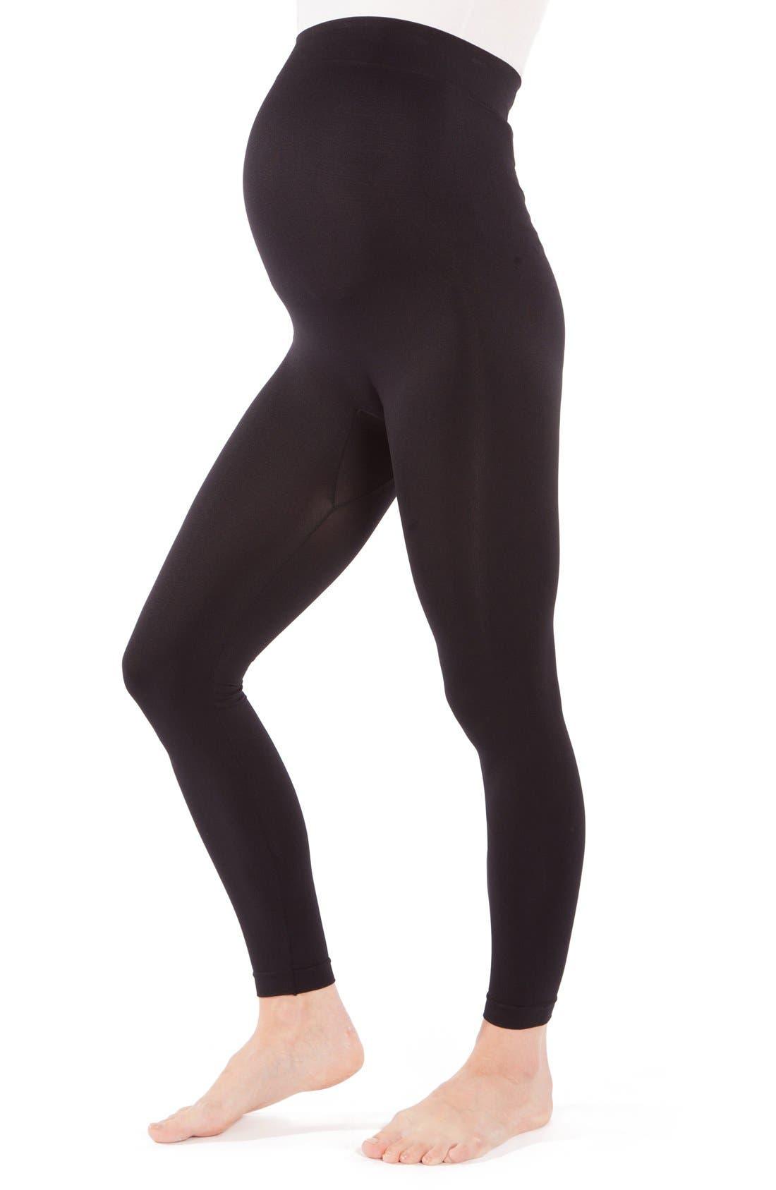 2-Pack Seamless Maternity Leggings,                             Alternate thumbnail 4, color,                             BLACK