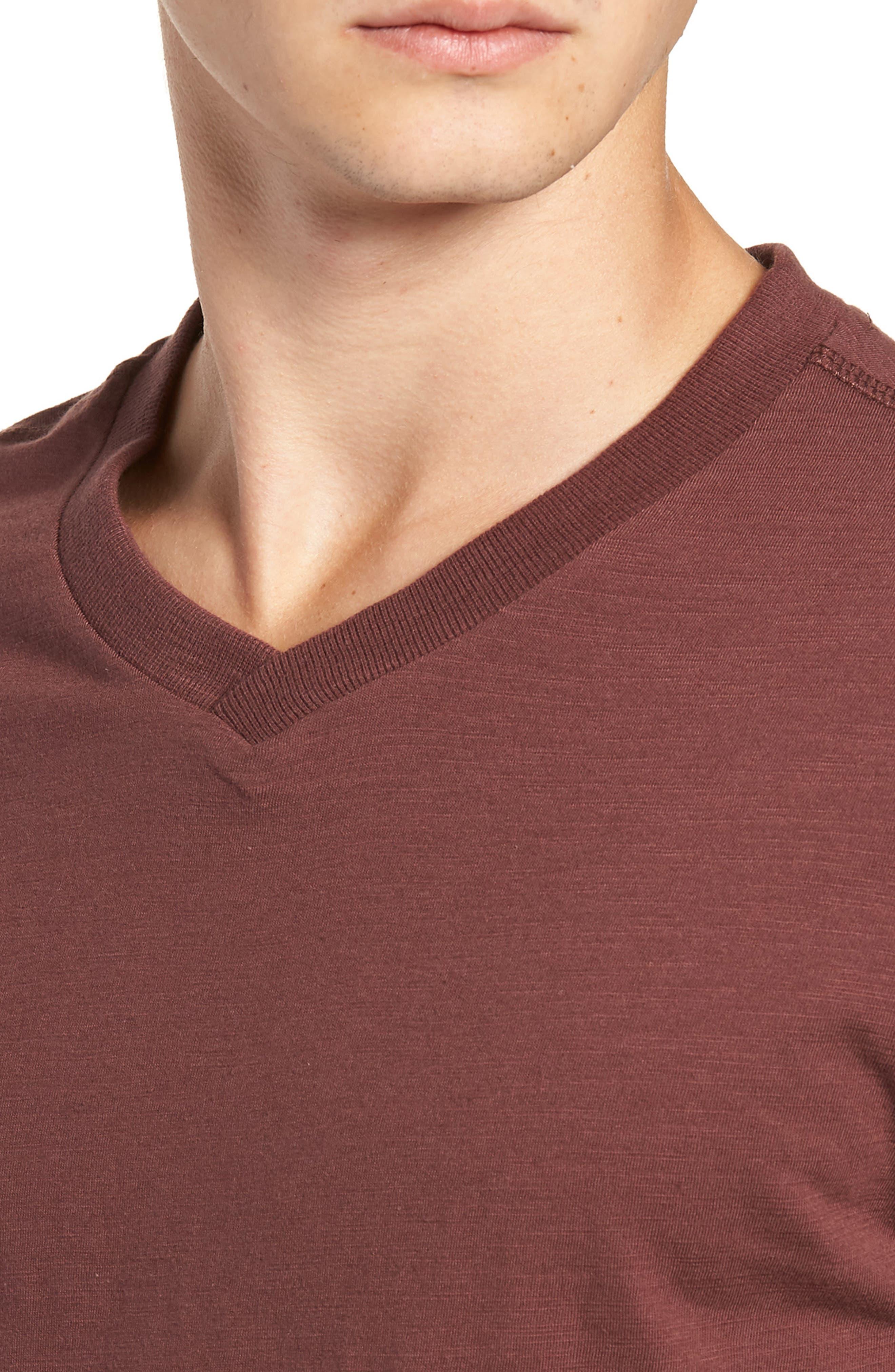 Soccer V-Neck T-Shirt,                             Alternate thumbnail 4, color,                             BURGUNDY