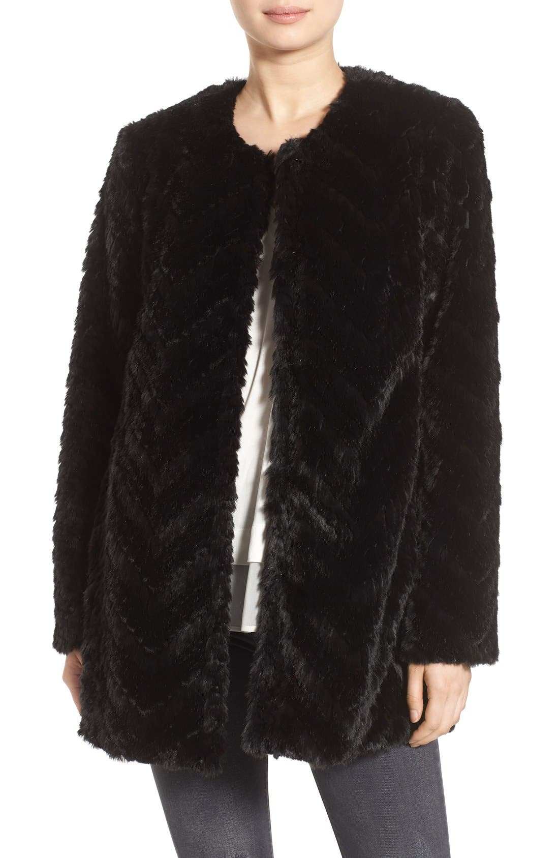 Tiered Faux Fur Topper,                             Main thumbnail 1, color,                             001