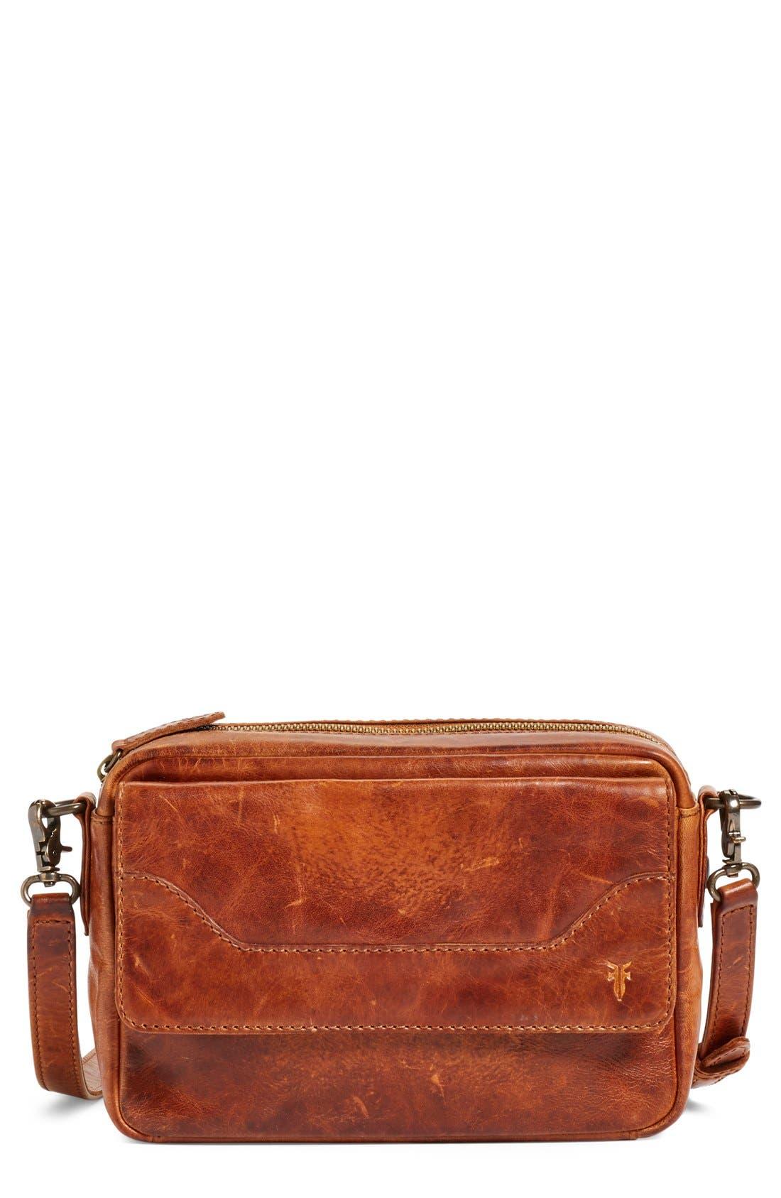 'Melissa' Leather Camera Crossbody Bag, Main, color, 200