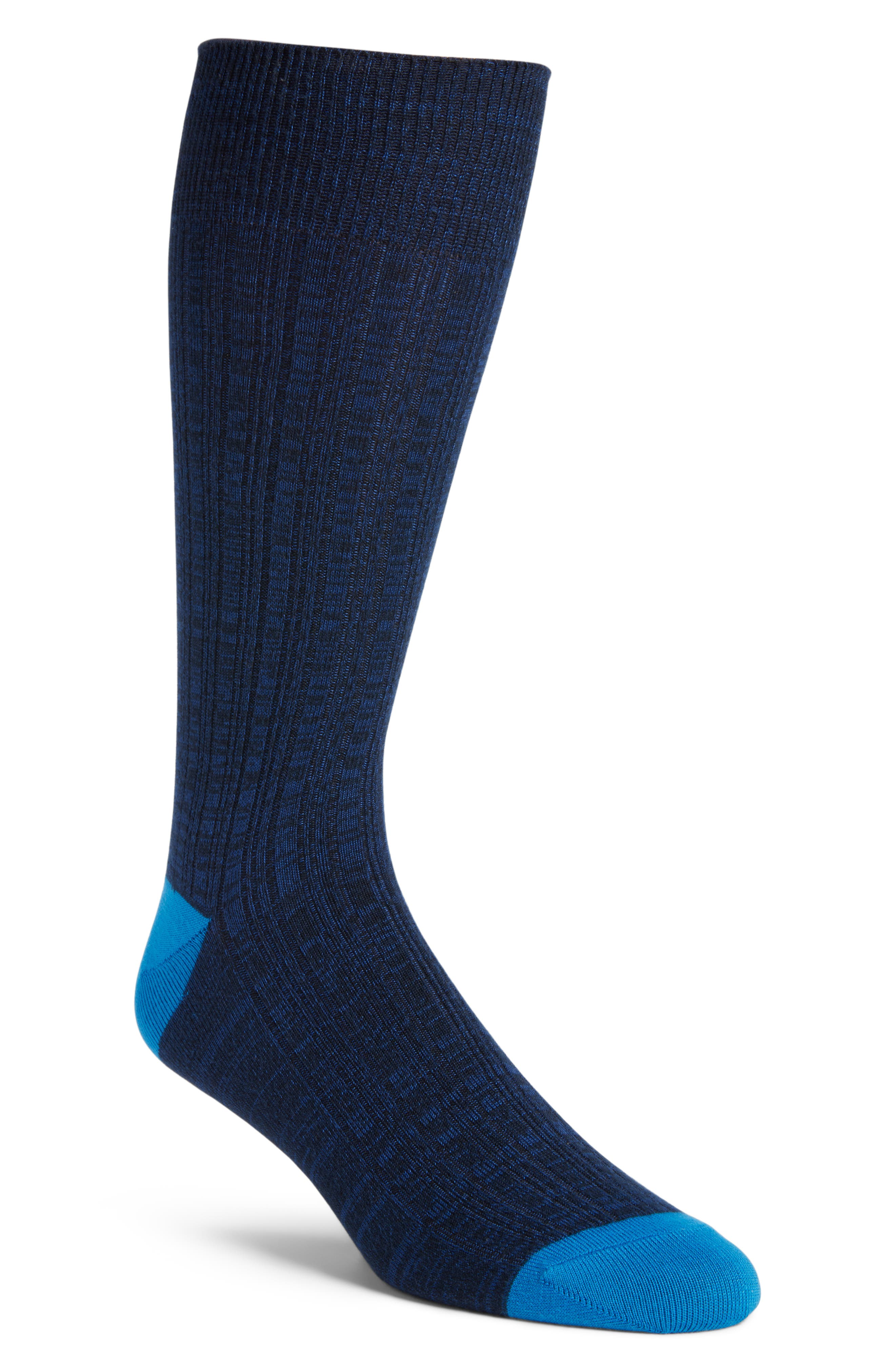 Variegated Ribbed Ultrasoft Socks,                             Main thumbnail 1, color,                             NAVY MARL