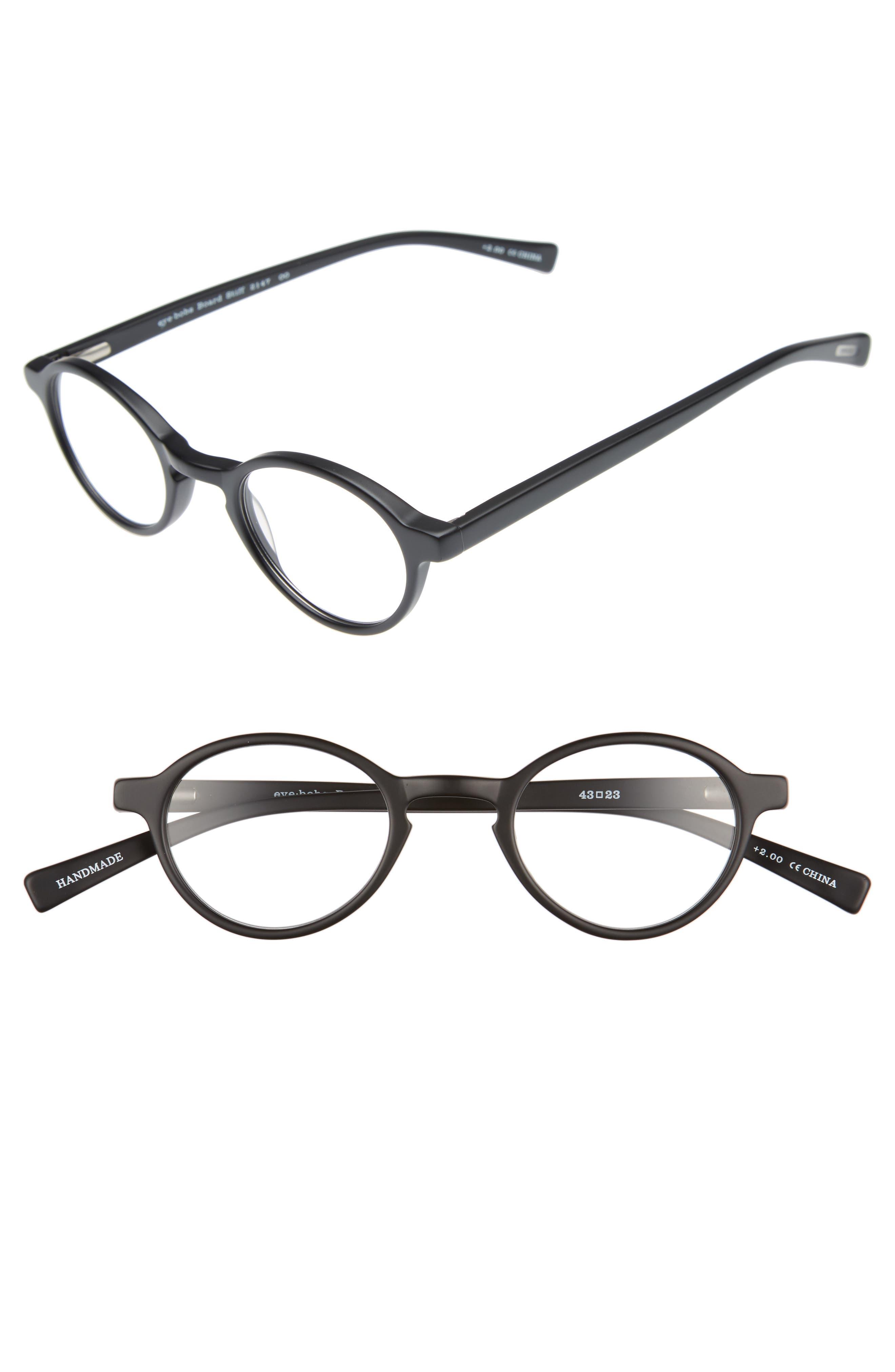 Board Stiff 43mm Reading Glasses,                             Main thumbnail 1, color,                             MATTE BLACK