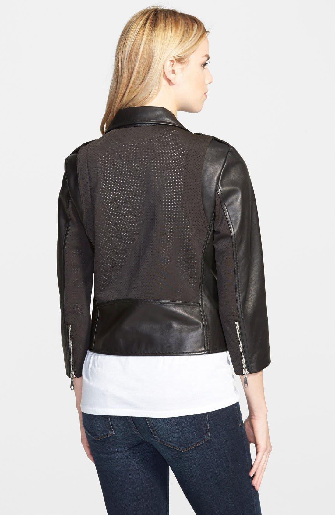 Wes Neoprene Panel Moto Jacket,                             Alternate thumbnail 2, color,                             001