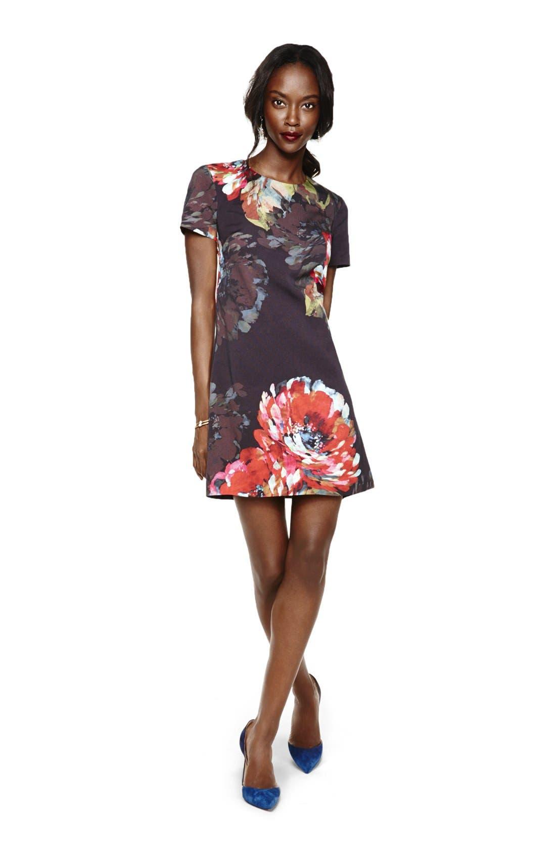 'Natasha' Flower Print Faille A-Line Dress,                             Alternate thumbnail 5, color,                             001