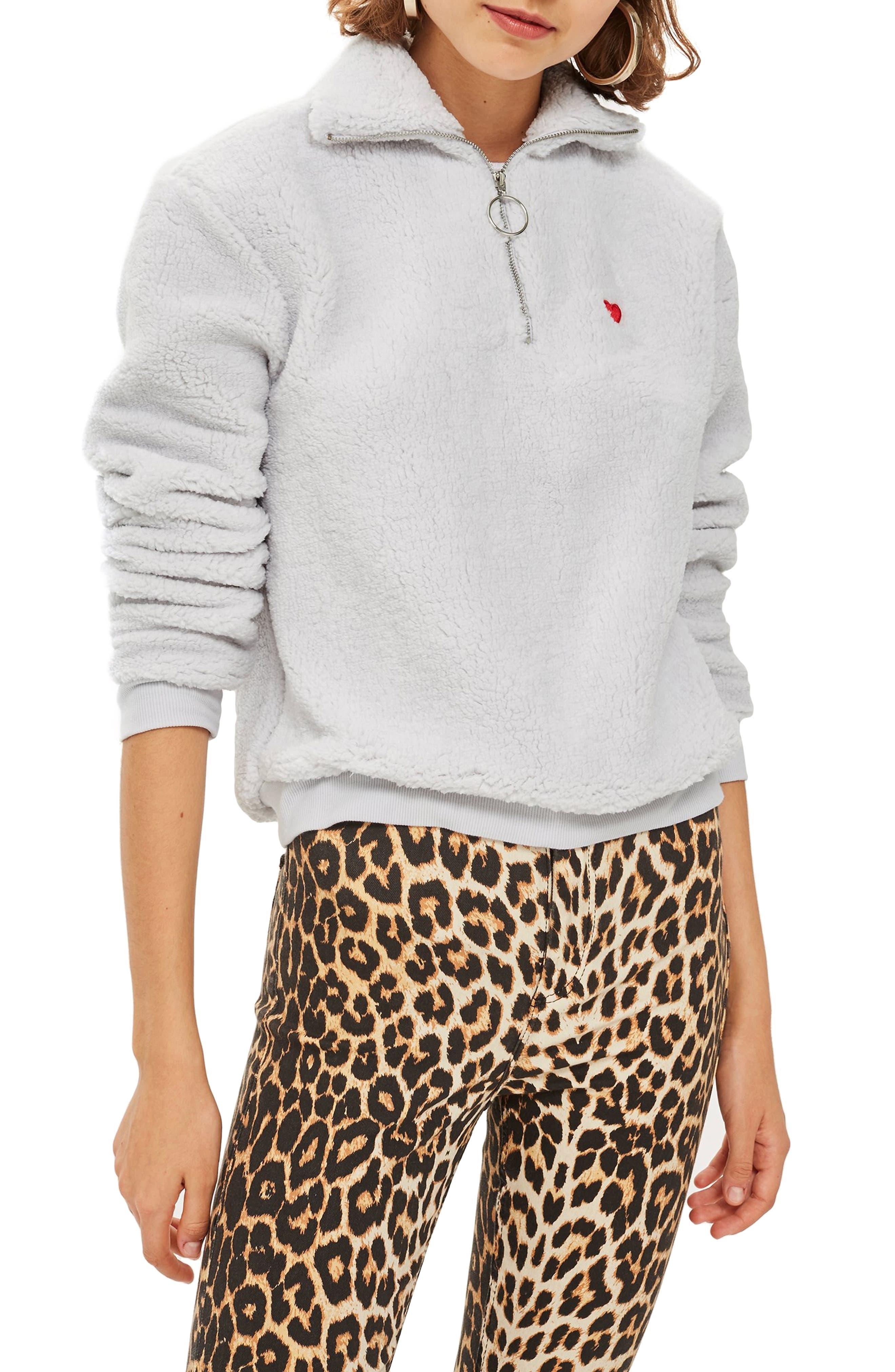 Borg Heart Quarter Zip Pullover, Main, color, GREY
