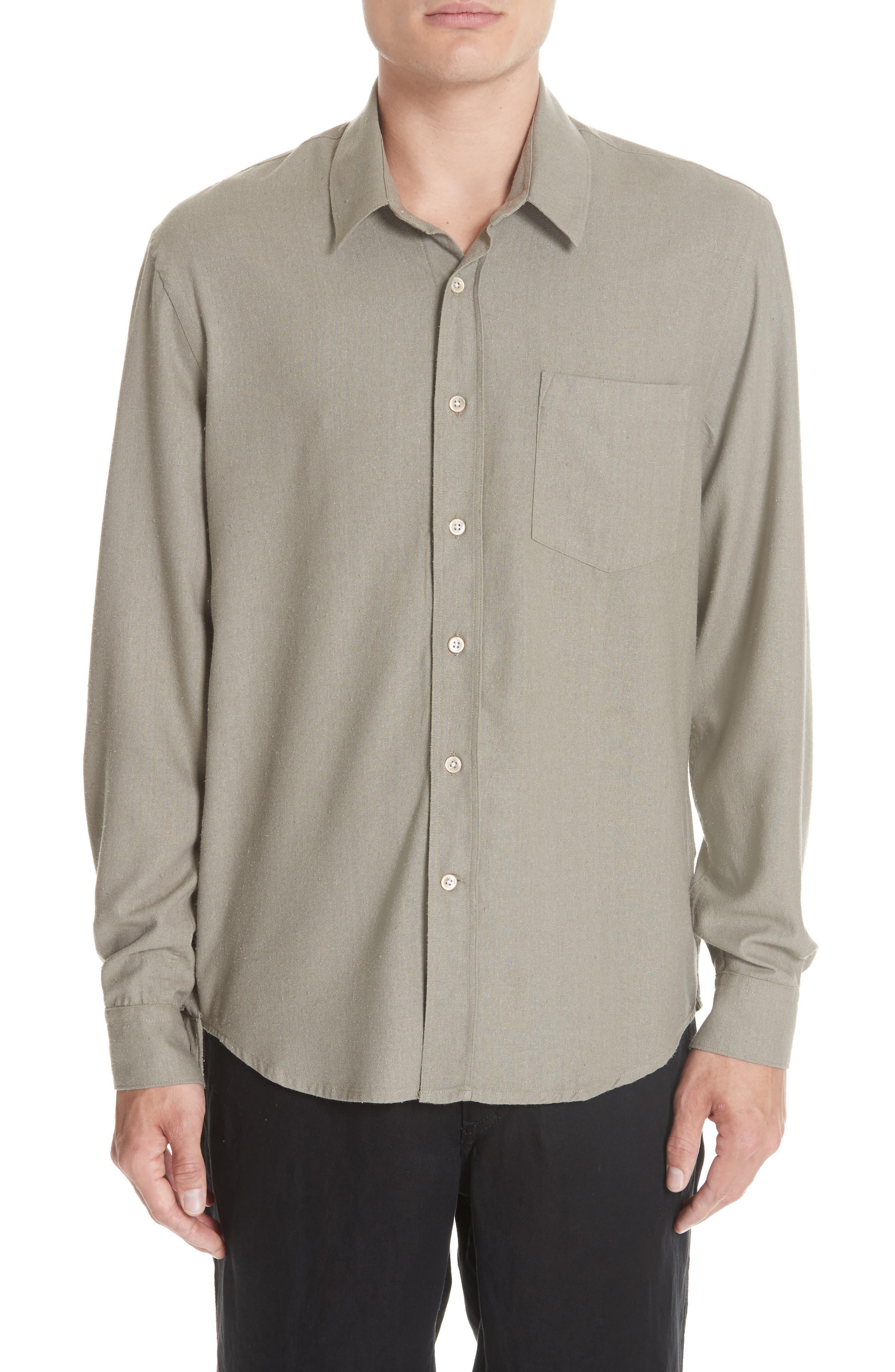 Silk Shirt,                         Main,                         color, DRAB NOIL