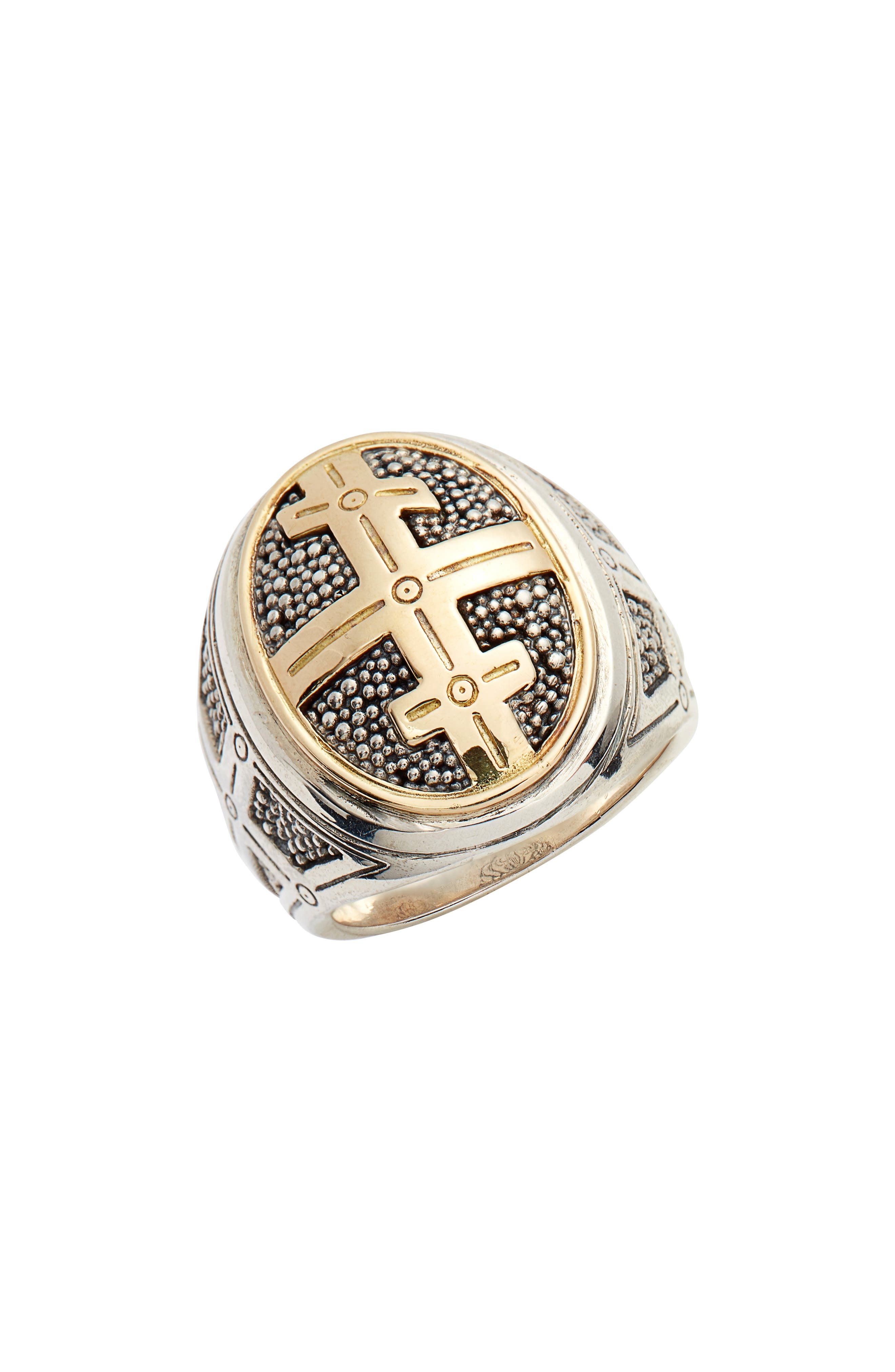 Large Stavros Cross Signet Ring,                             Main thumbnail 1, color,                             SILVER/ GOLD