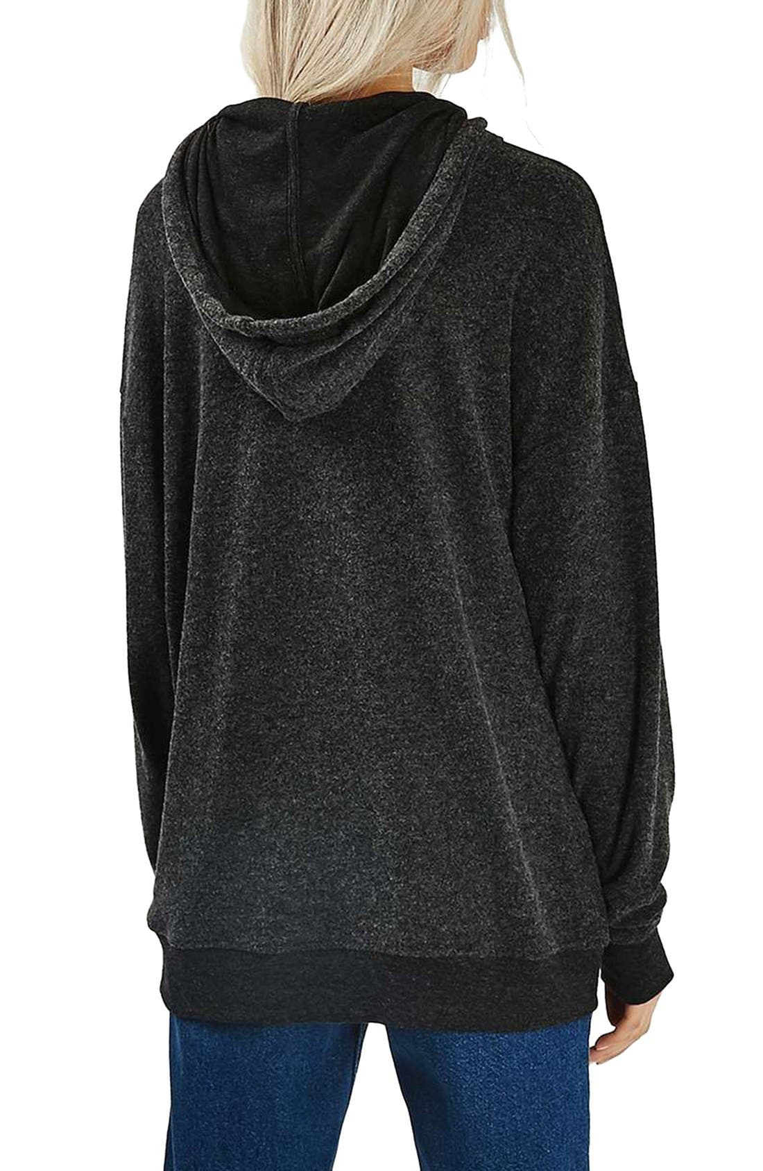 TOPSHOP,                             Memphis Brushed Hoodie,                             Alternate thumbnail 3, color,                             021
