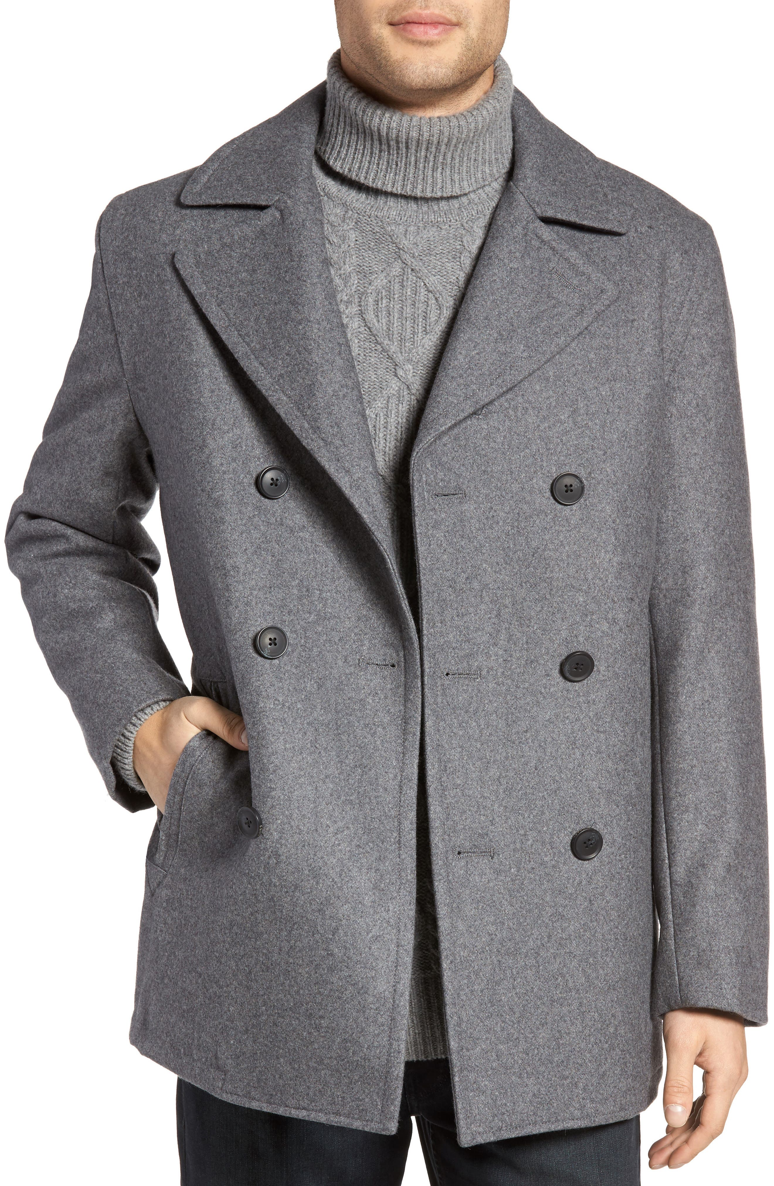 Wool Blend Double Breasted Peacoat,                             Alternate thumbnail 23, color,