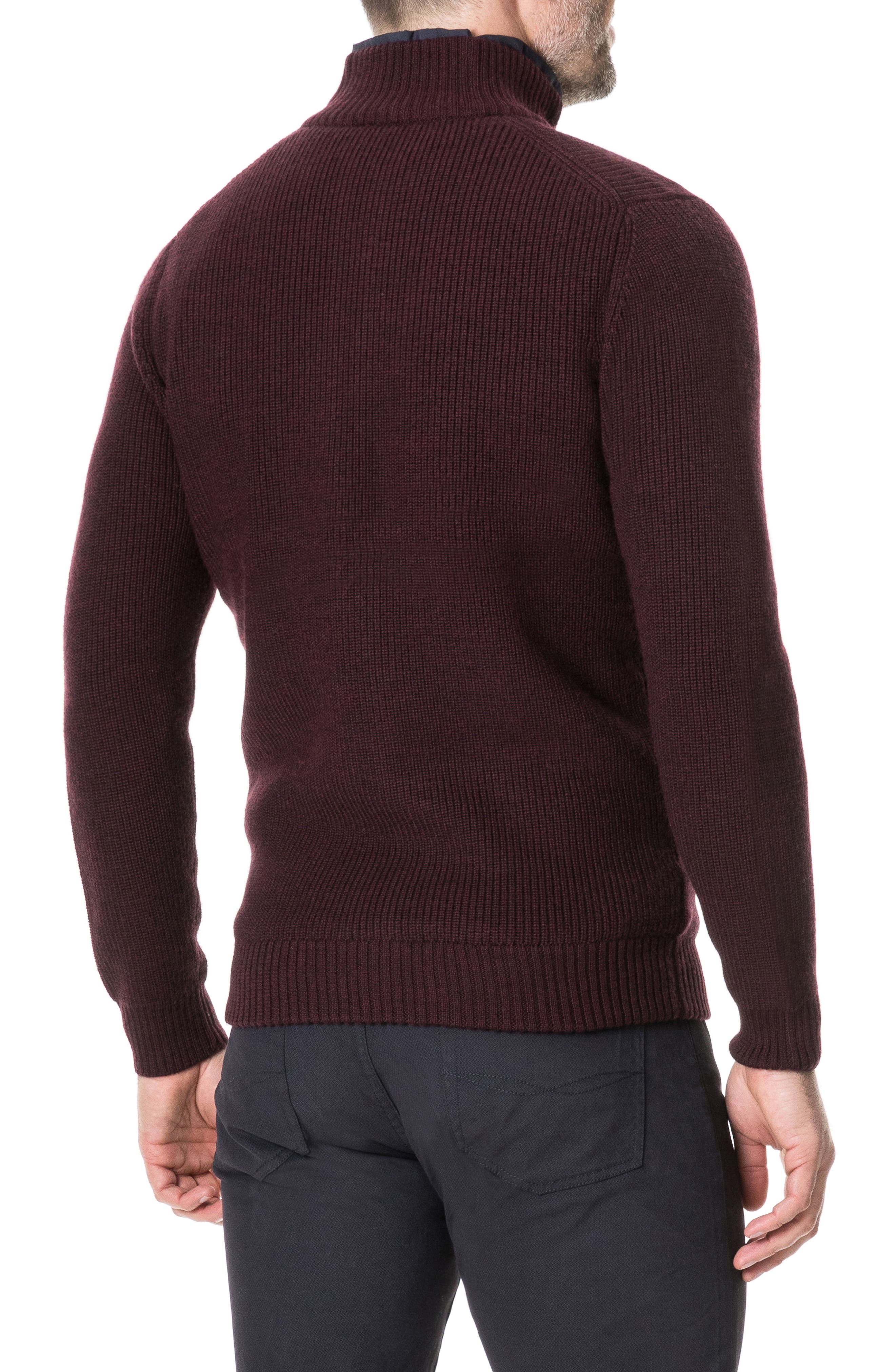 Camerons Track Zip Wool Sweater,                             Alternate thumbnail 2, color,                             BURGUNDY
