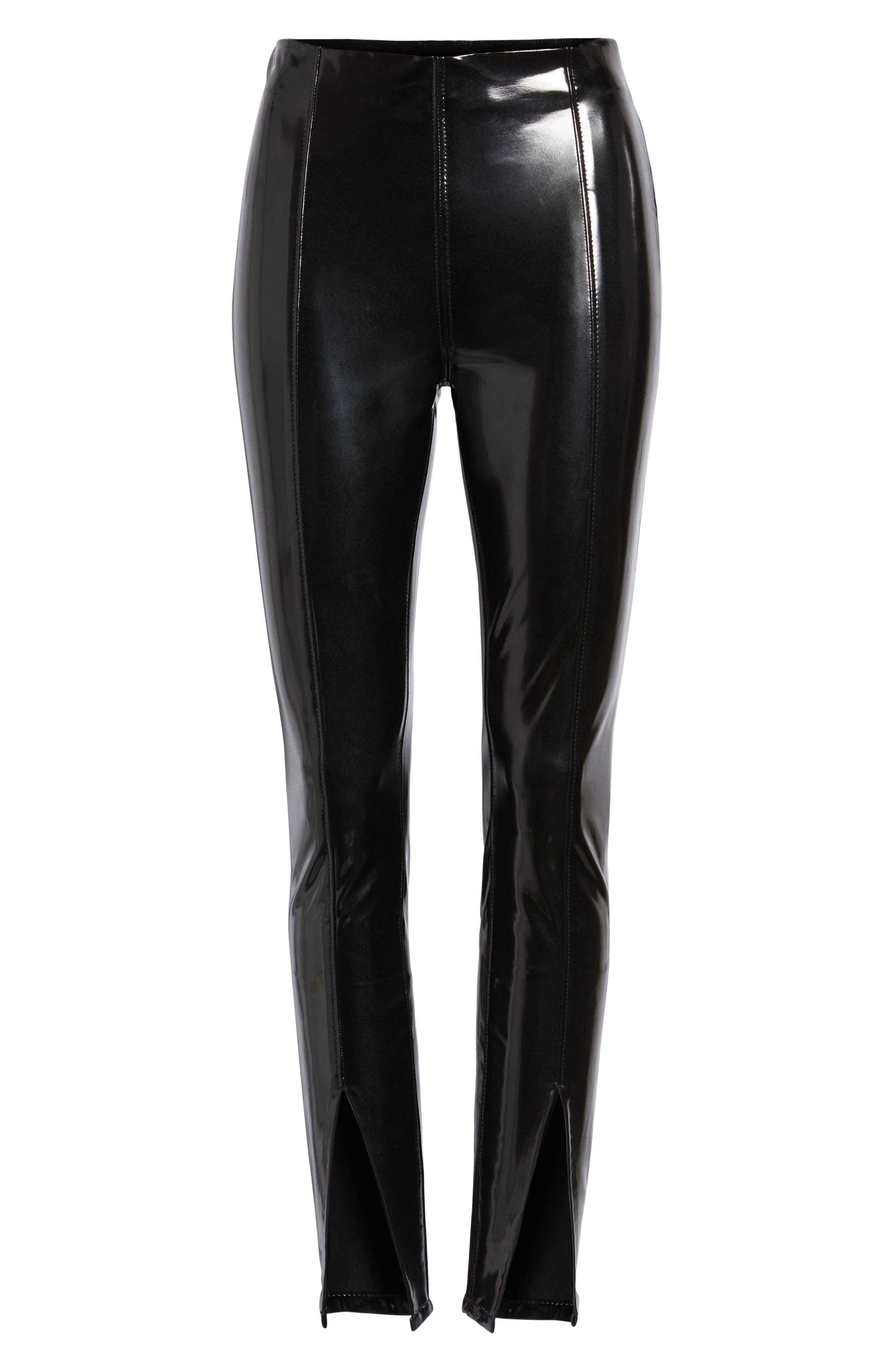Patent Faux Leather Leggings,                             Alternate thumbnail 7, color,                             BLACK