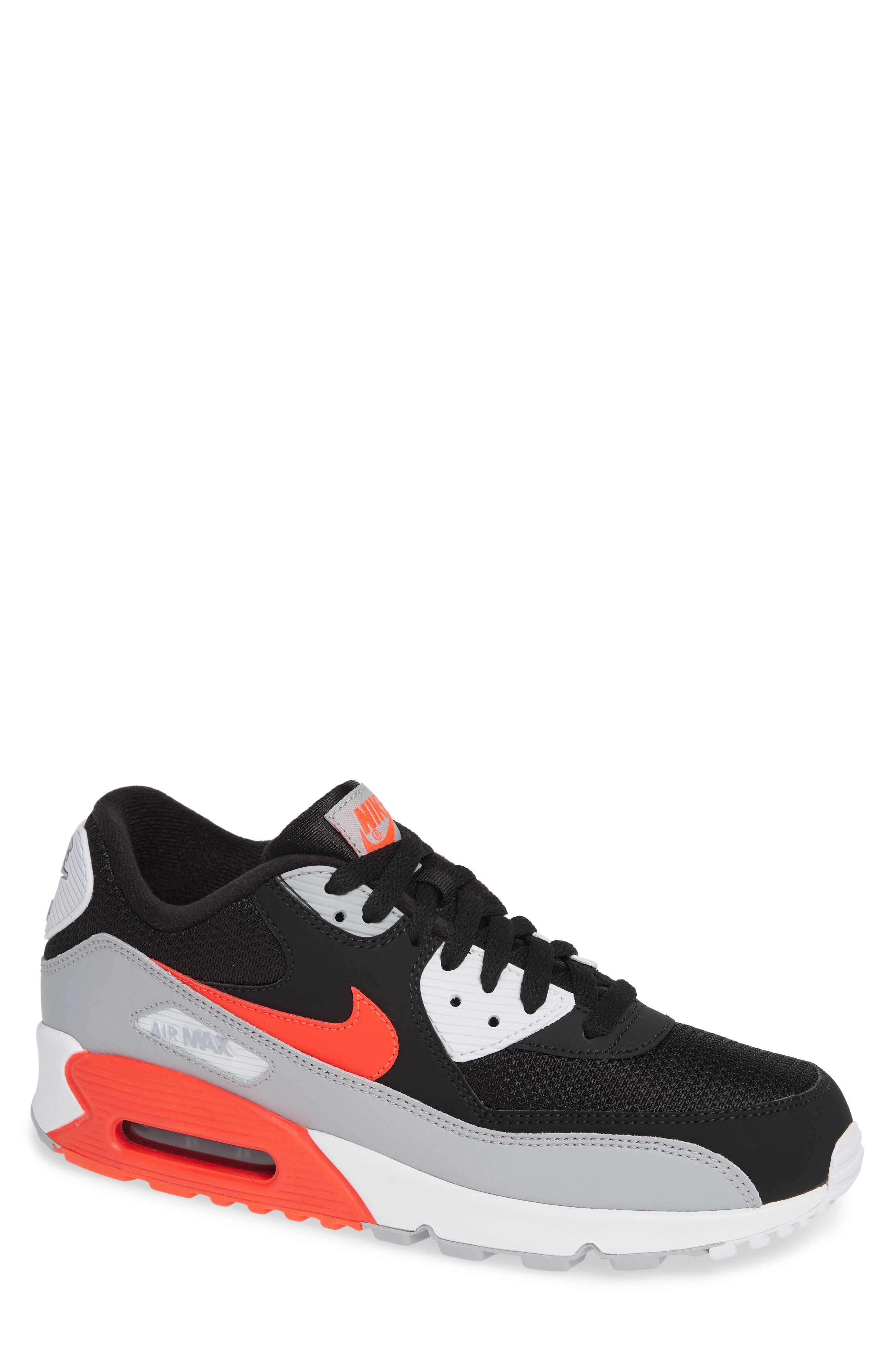 Air Max 90 Essential Sneaker,                         Main,                         color, WOLF GREY/ CRIMSON/ BLACK