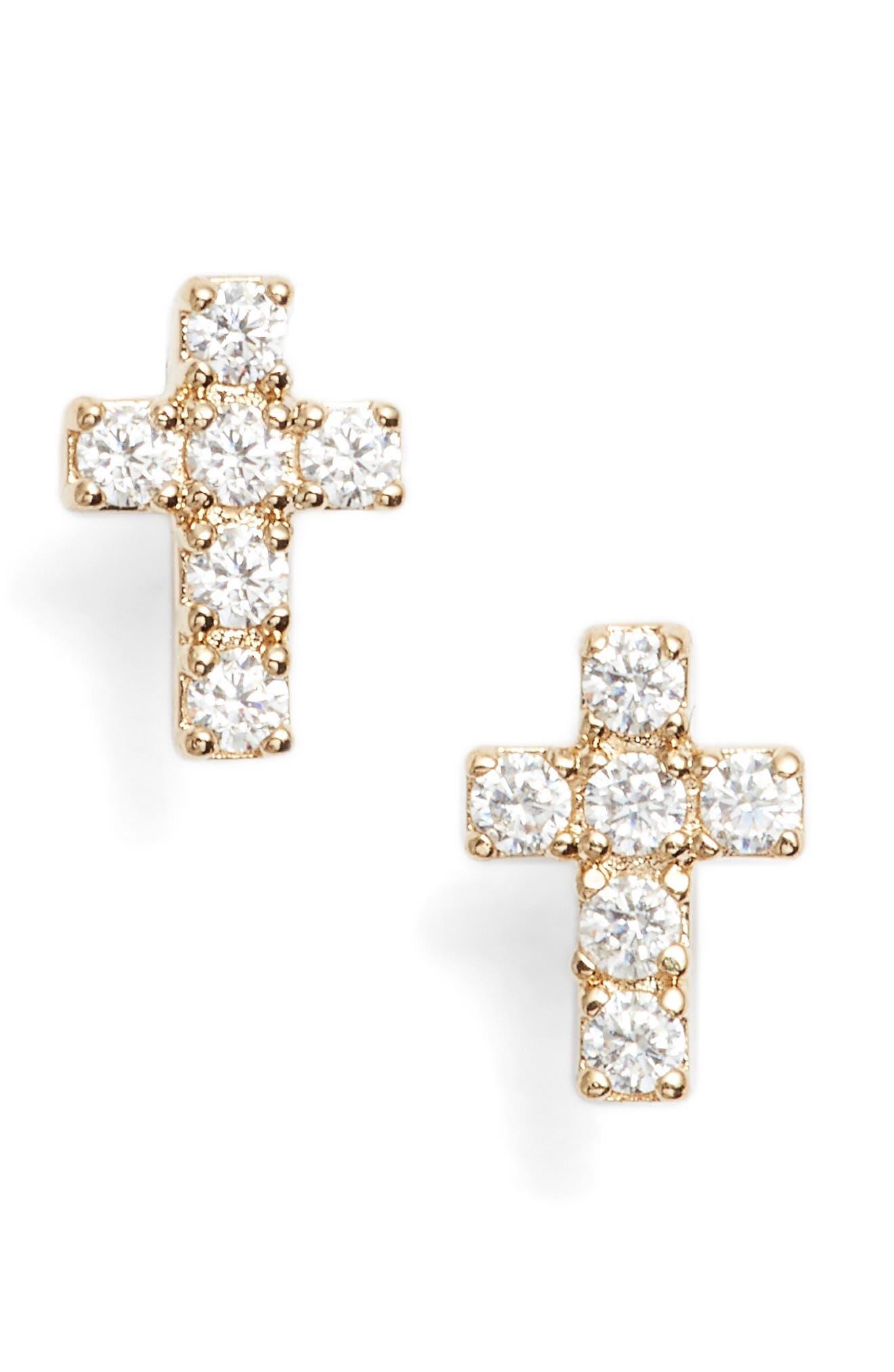 Reminisce Cubic Zirconia Cross Stud Earrings,                             Main thumbnail 2, color,