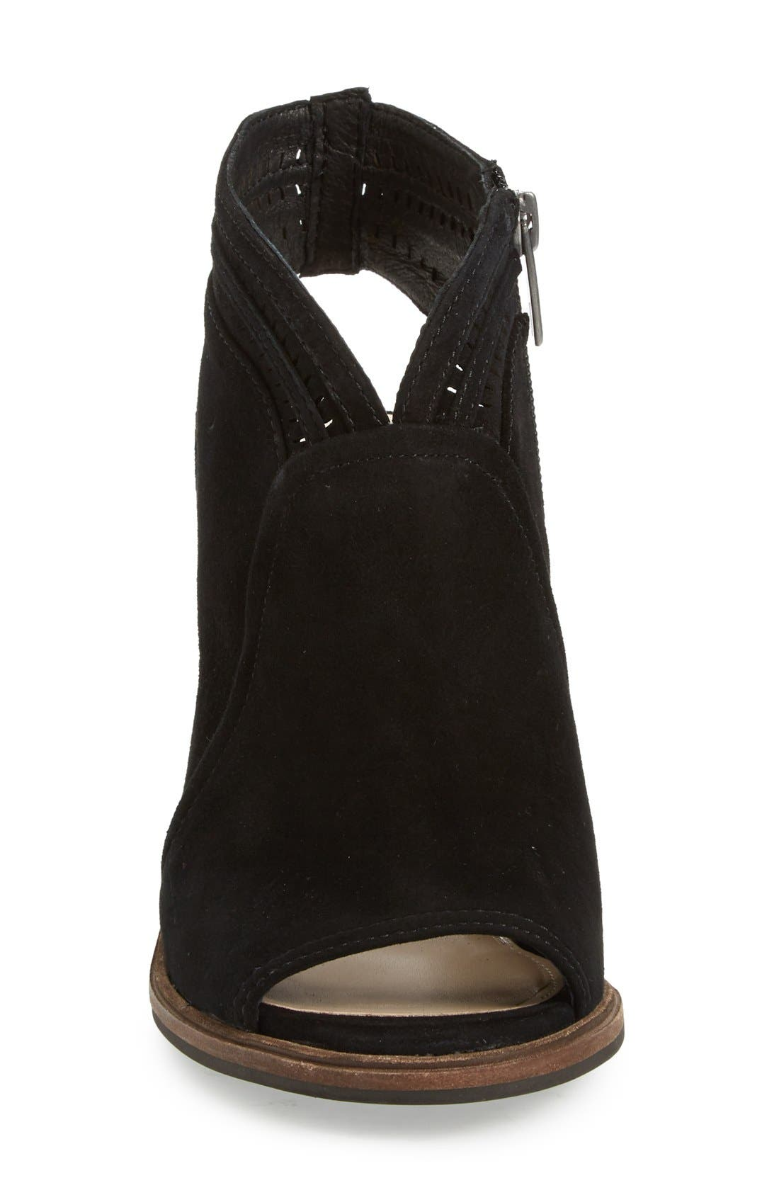 'Koral' Perforated Open Toe Bootie,                             Alternate thumbnail 3, color,                             001