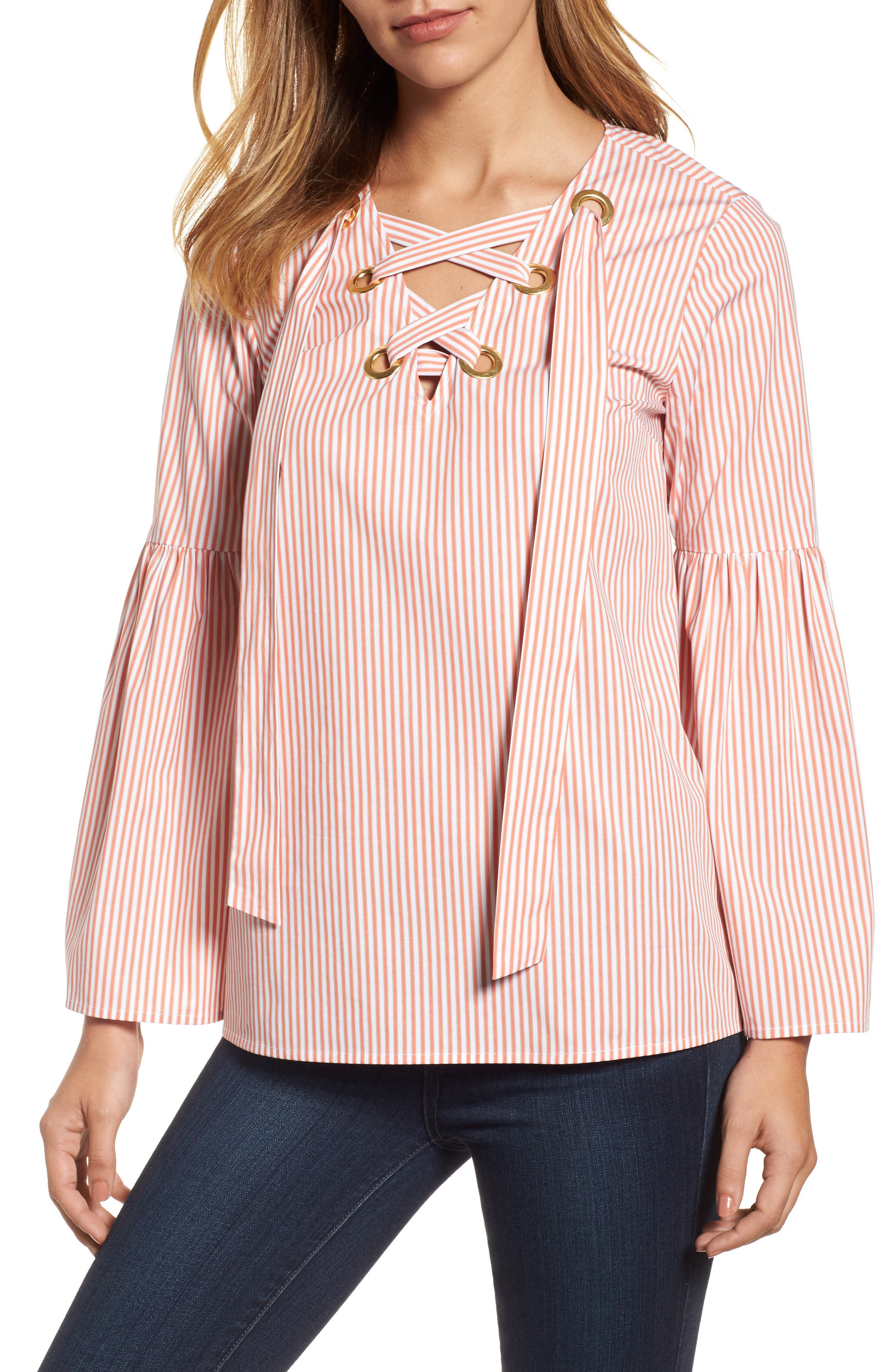 Lace-Up Bell Sleeve Top,                         Main,                         color,