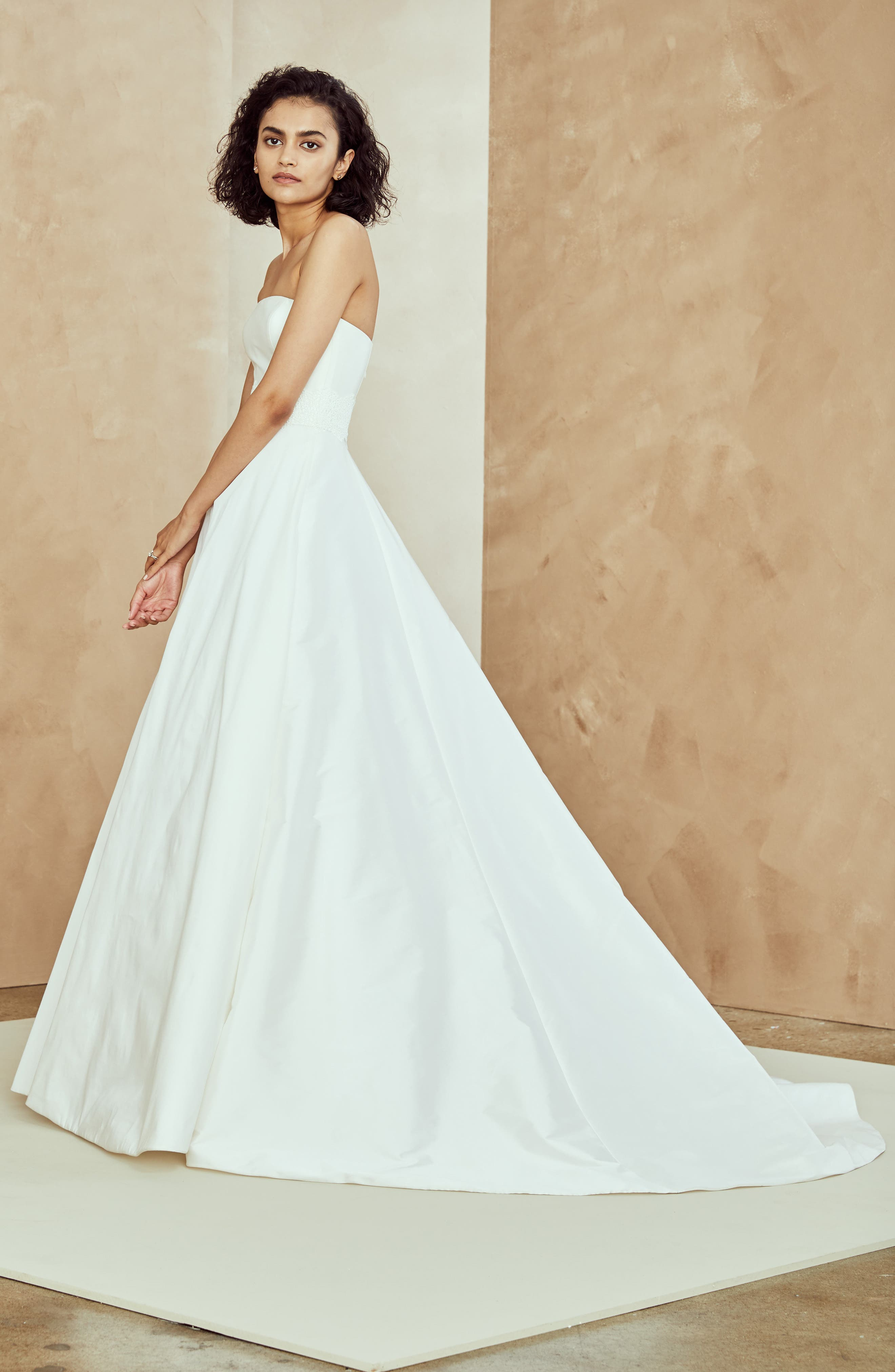 Ana Strapless Ballgown,                             Alternate thumbnail 3, color,                             IVORY