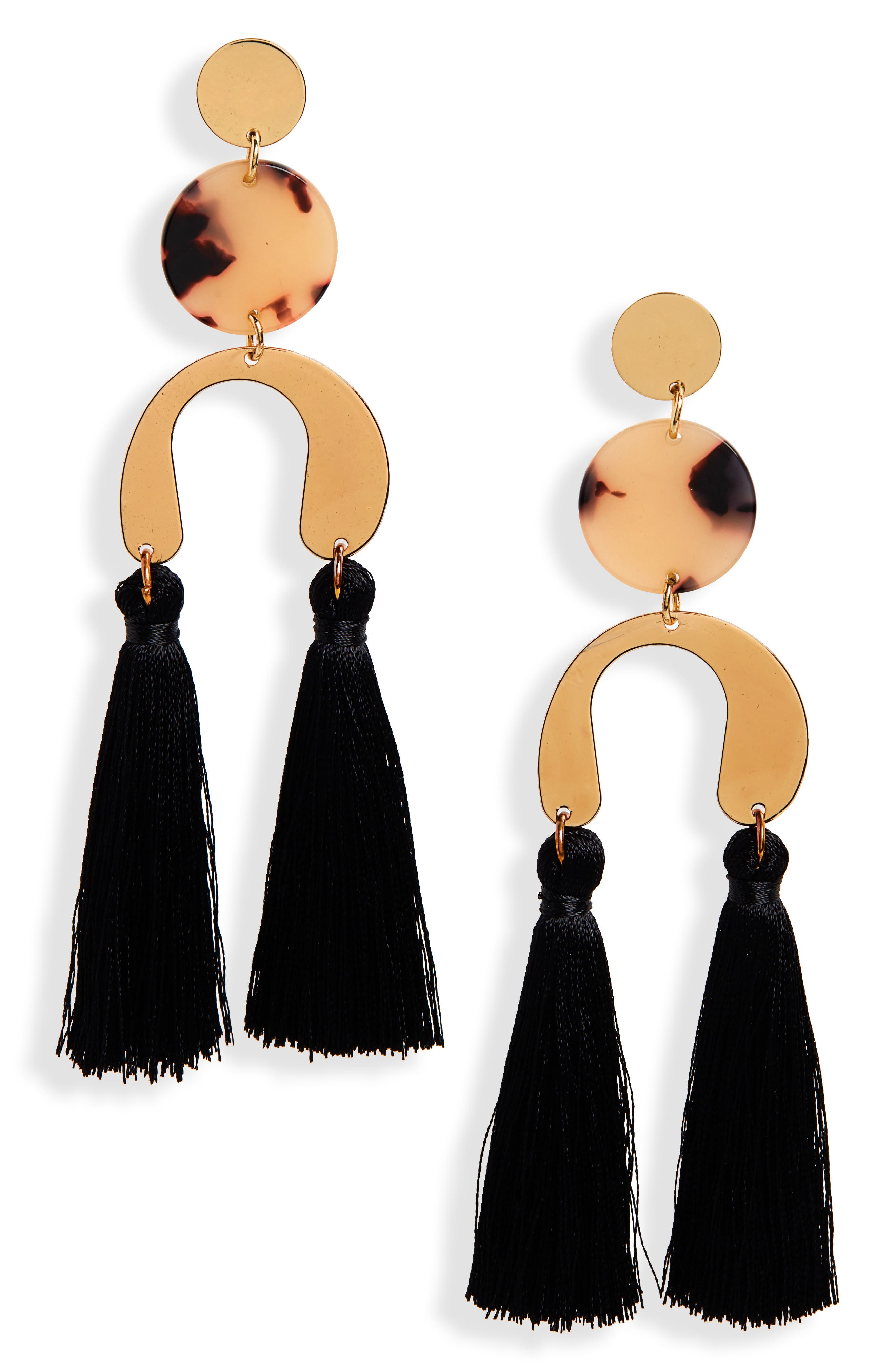NEW FRIENDS COLONY Stella Fringe Earrings in Gold/ Black