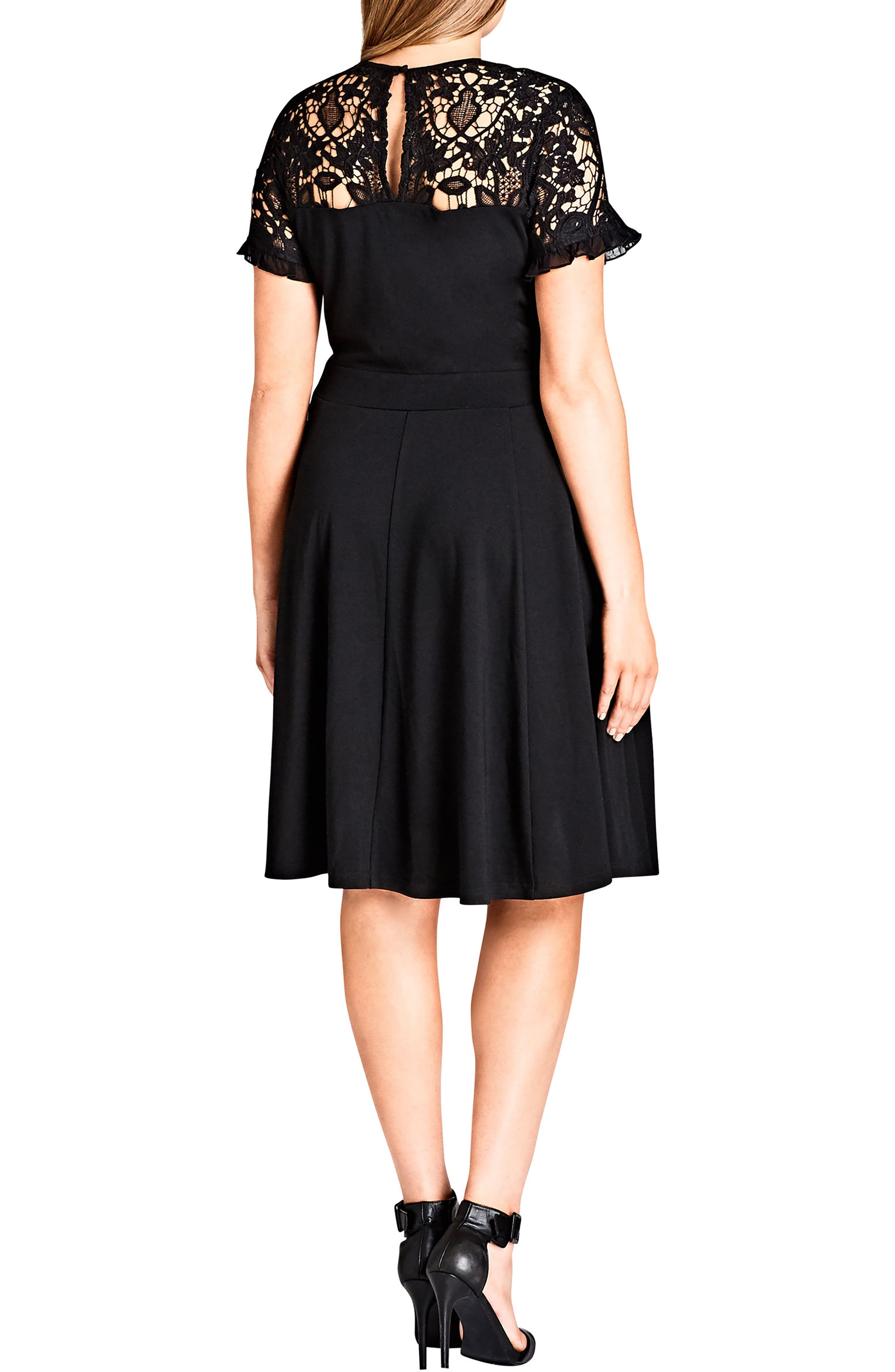 CITY CHIC,                             Dark Mistress Lace Yoke A-Line Dress,                             Alternate thumbnail 2, color,                             014