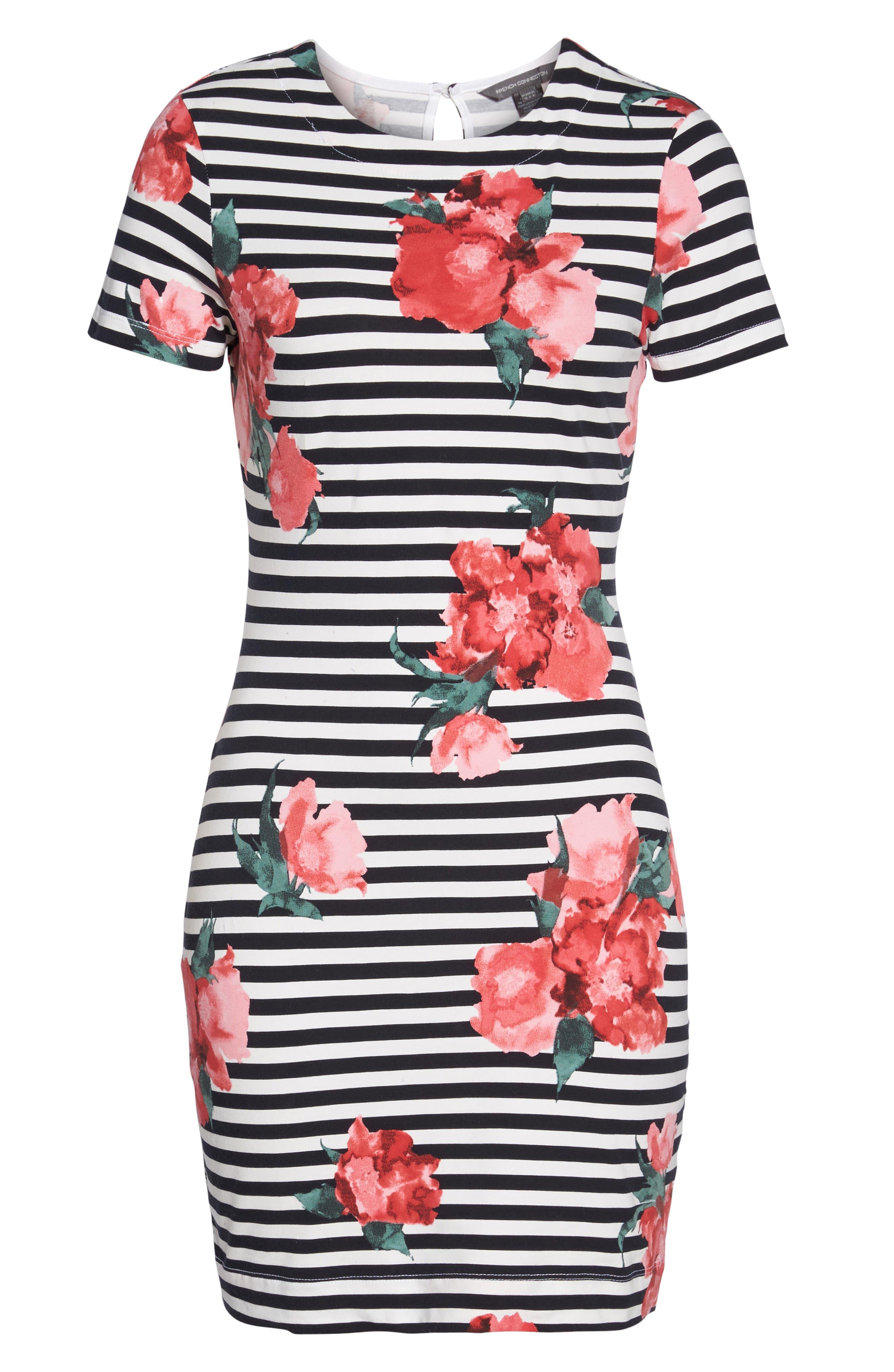 Jude Flower Stripe Knit Dress,                             Alternate thumbnail 6, color,                             488