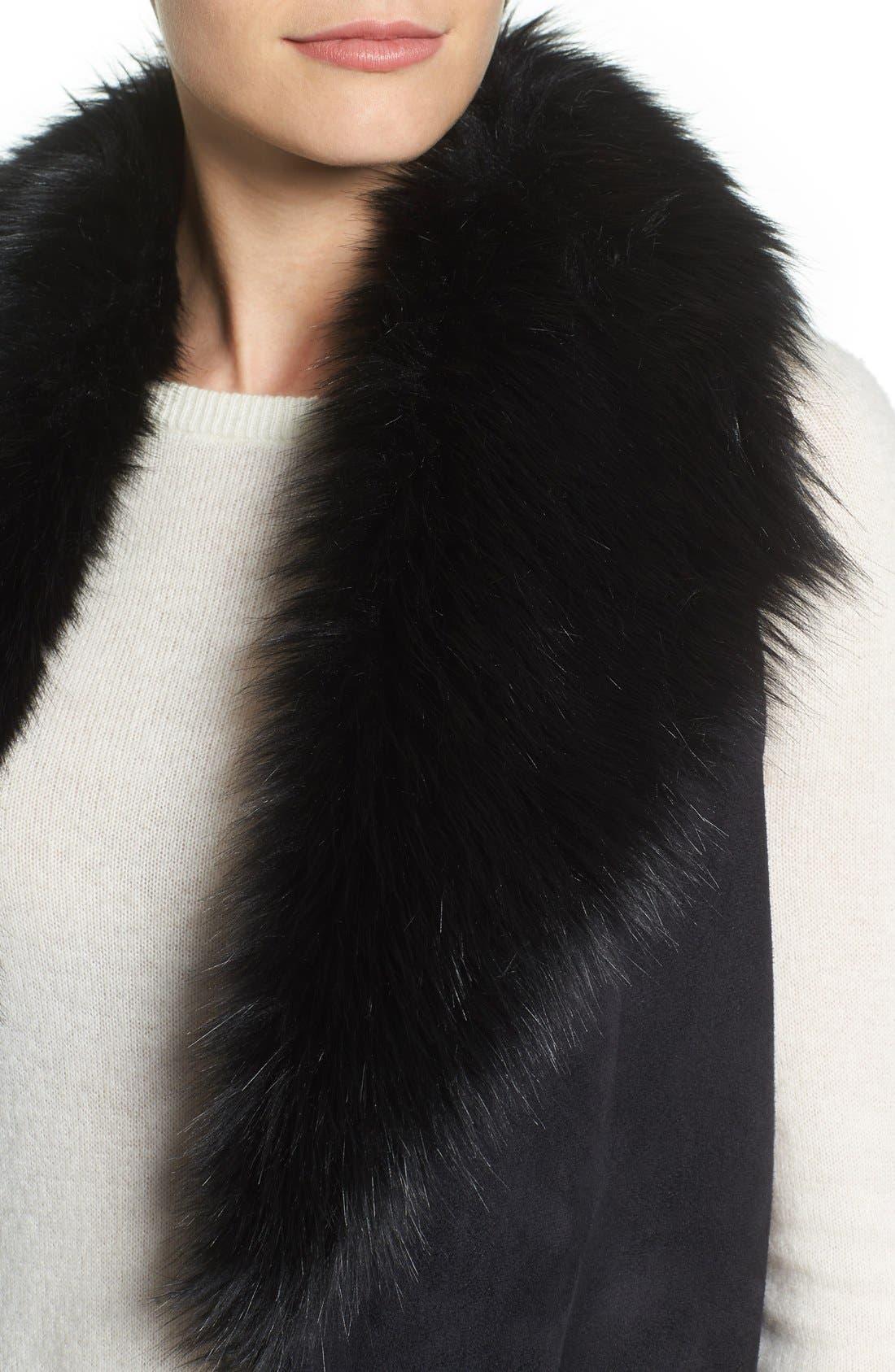 Faux Fur Collar Vest,                             Alternate thumbnail 5, color,                             002