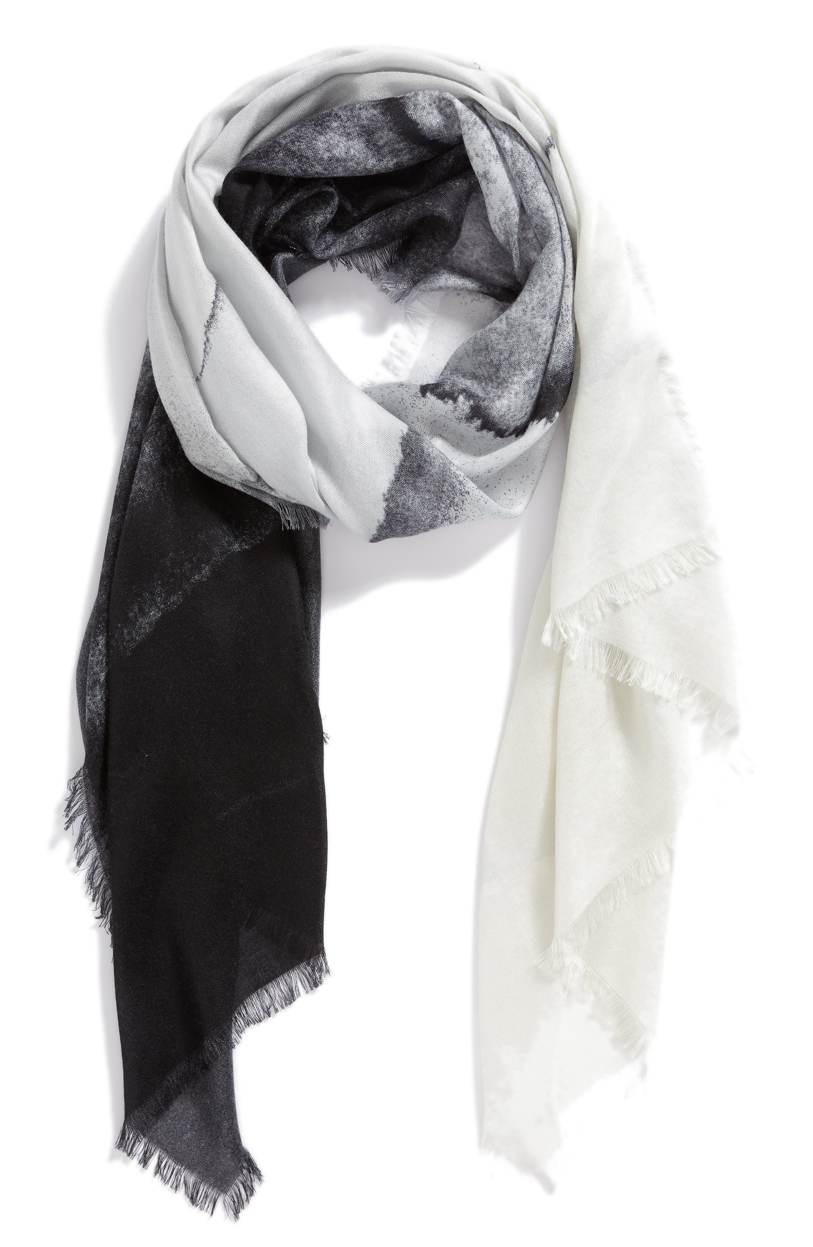Eyelash Trim Print Cashmere & Silk Wrap,                             Alternate thumbnail 39, color,