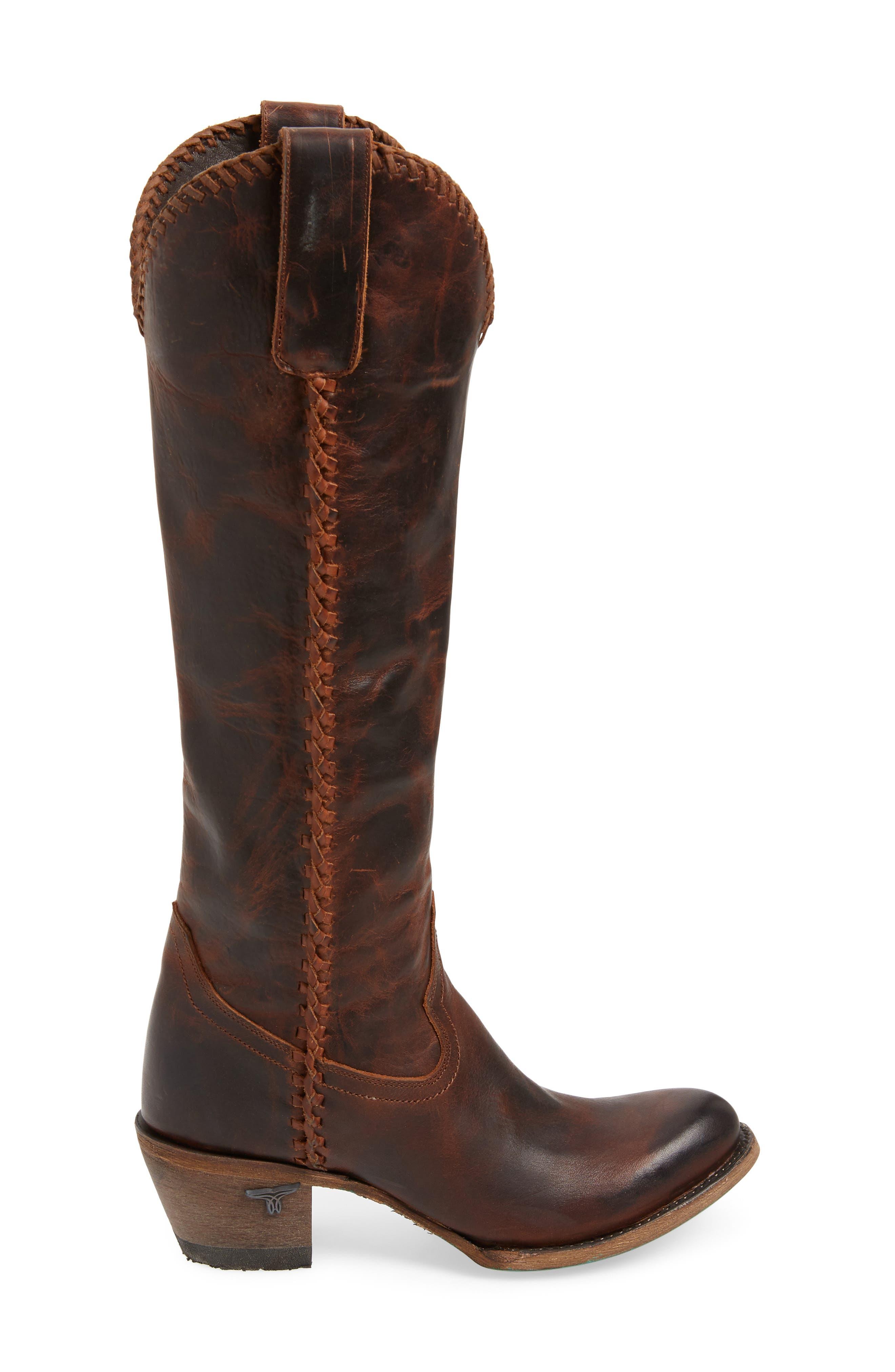 LANE BOOTS,                             Plain Jane Knee High Western Boot,                             Alternate thumbnail 3, color,                             COGNAC LEATHER
