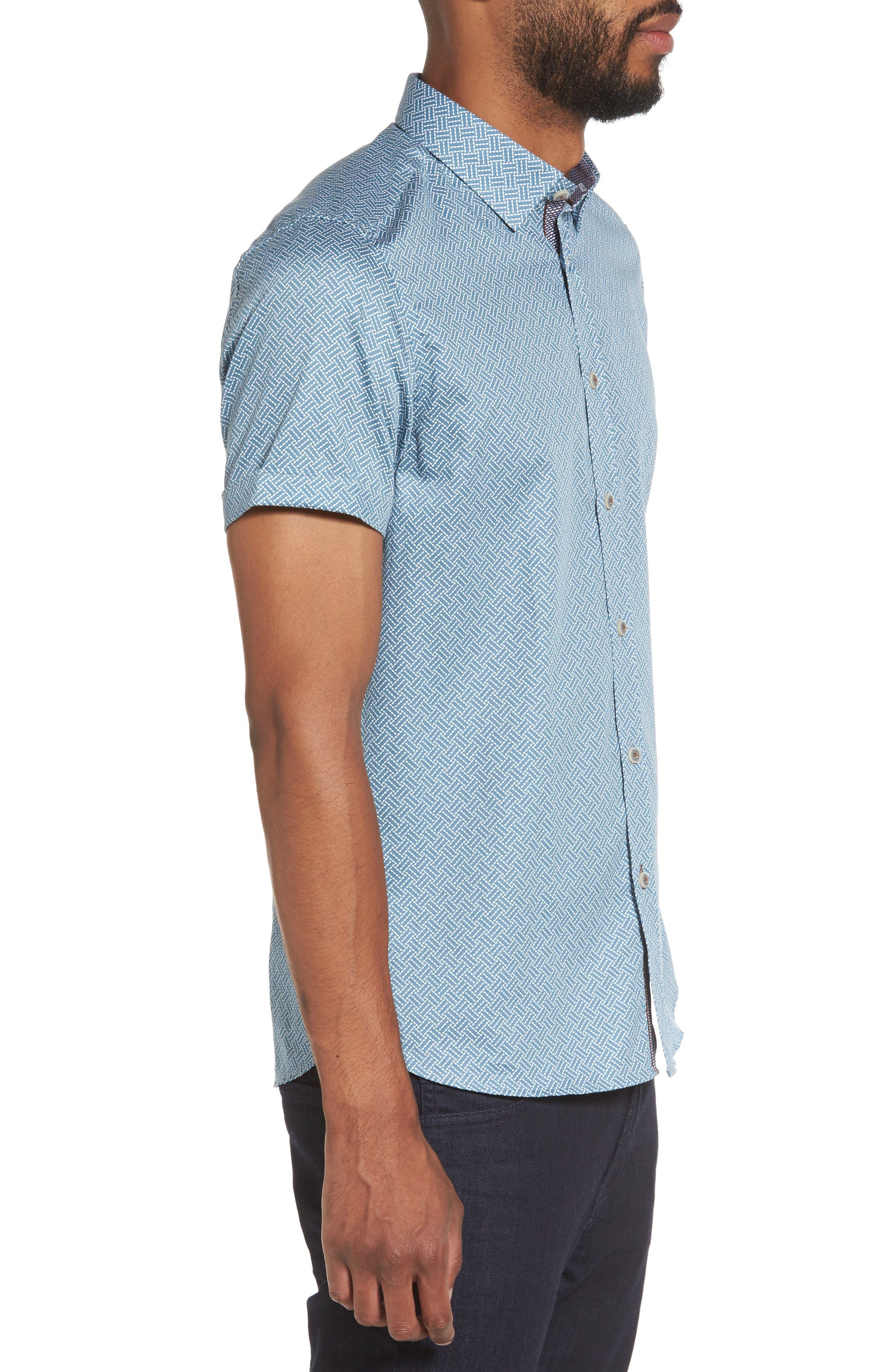 Lashore Basketweave Print Woven Shirt,                             Alternate thumbnail 3, color,                             421