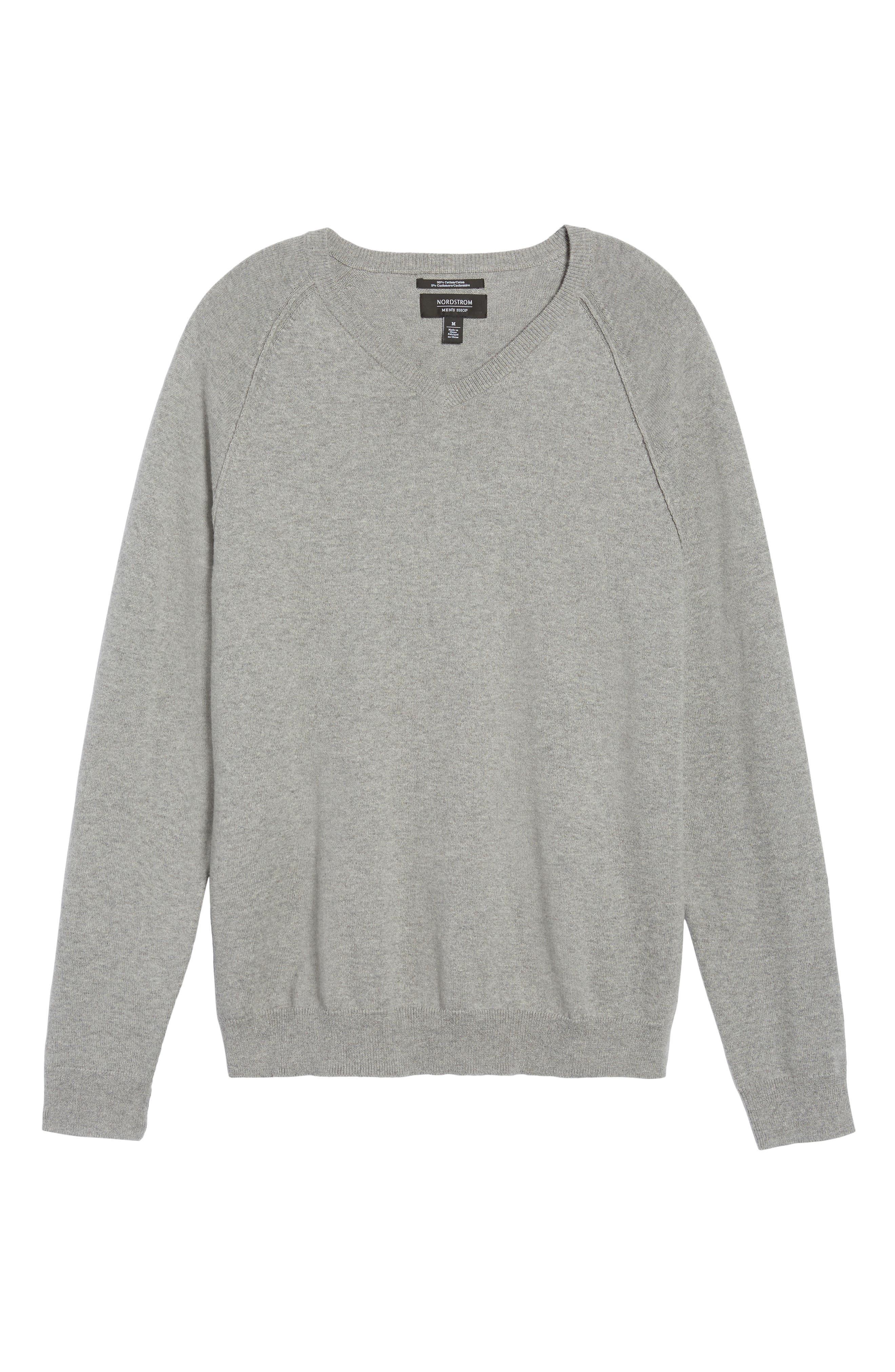 Saddle Shoulder Cotton & Cashmere V-Neck Sweater,                             Alternate thumbnail 44, color,
