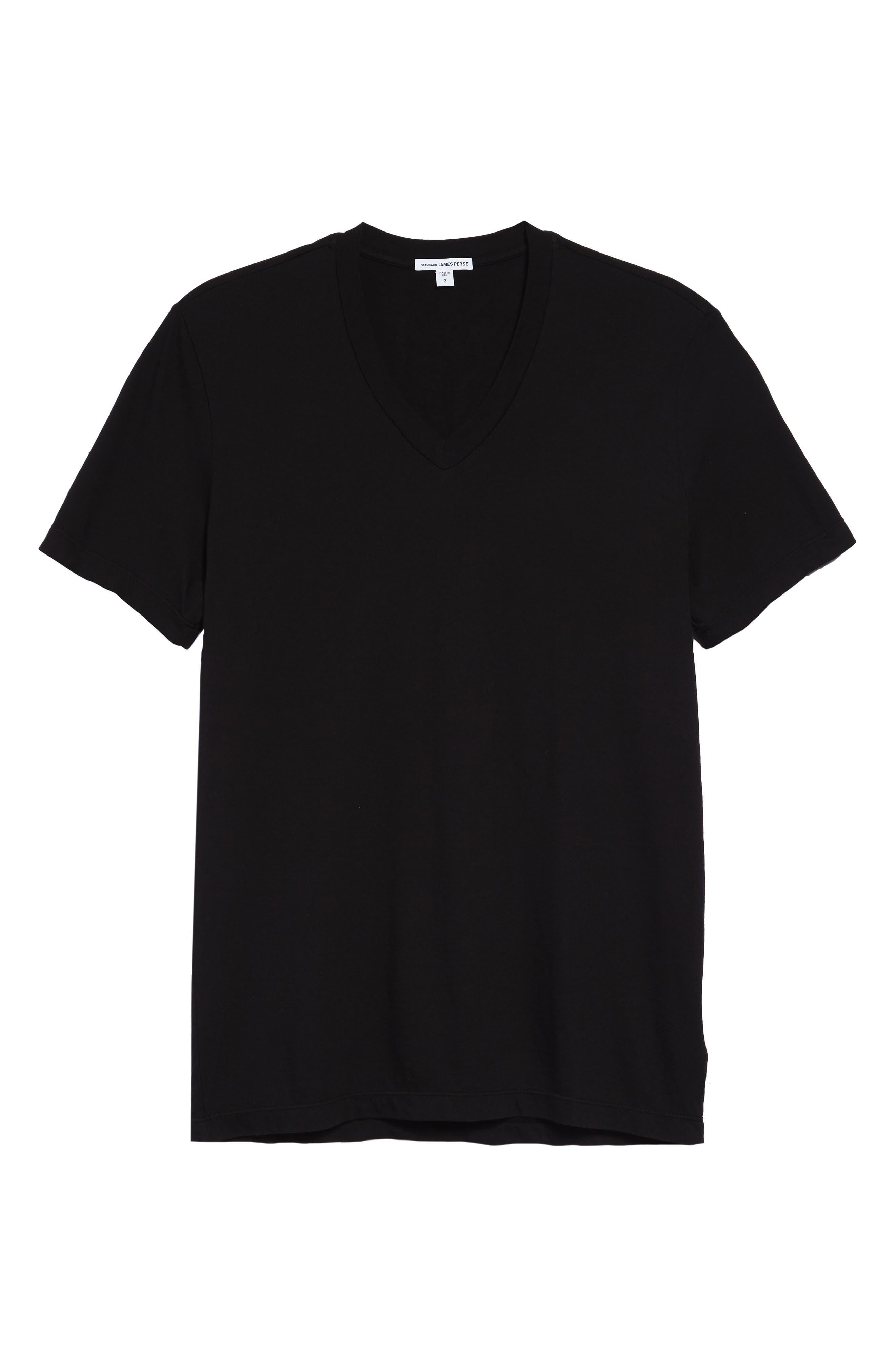 Short Sleeve V-Neck T-Shirt,                             Alternate thumbnail 2, color,                             BLACK