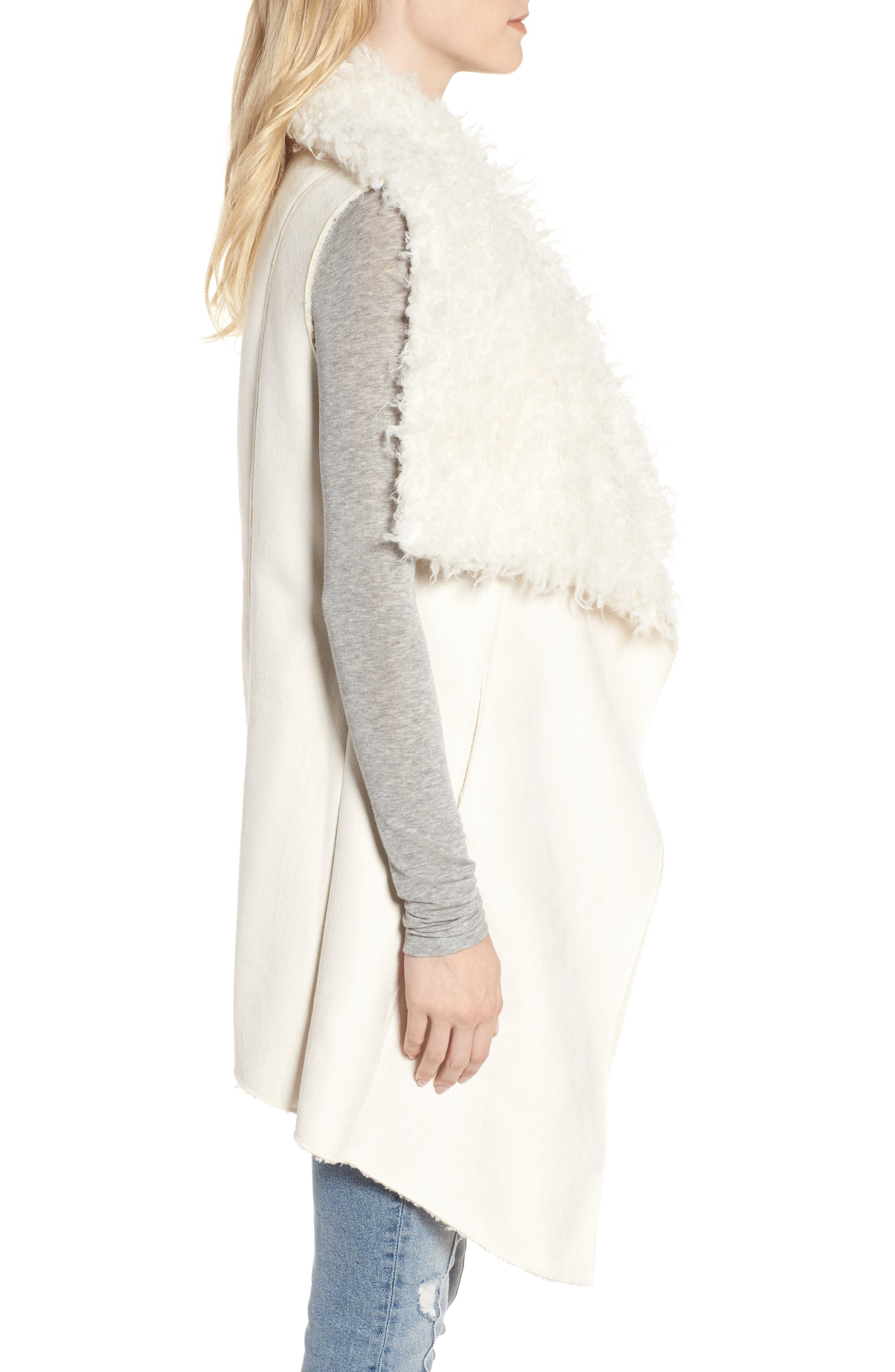 Dawn Maxi Fly Away Faux Shearling Vest,                             Alternate thumbnail 3, color,                             100