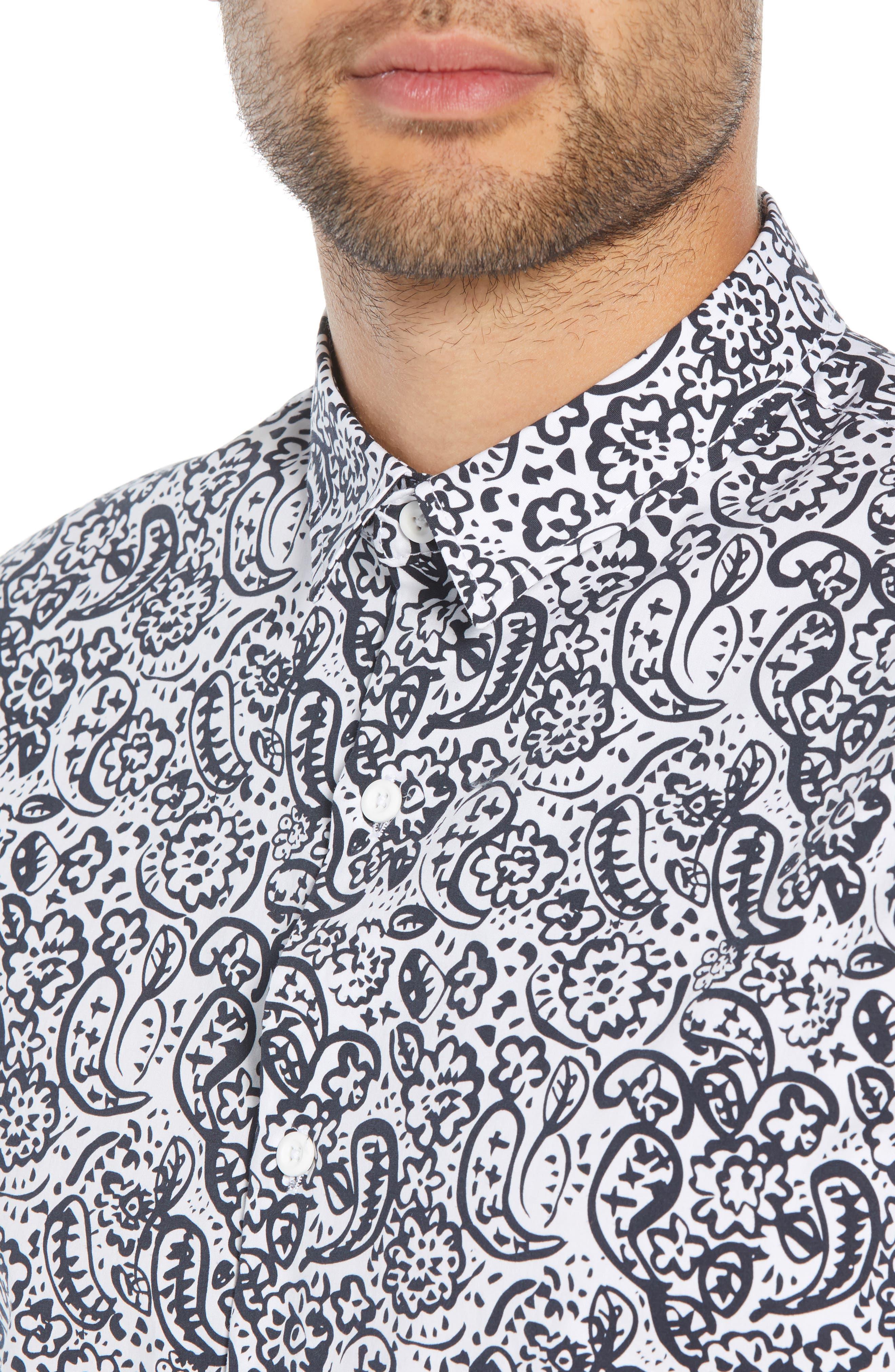 Paisley Print Woven Shirt,                             Alternate thumbnail 4, color,                             100