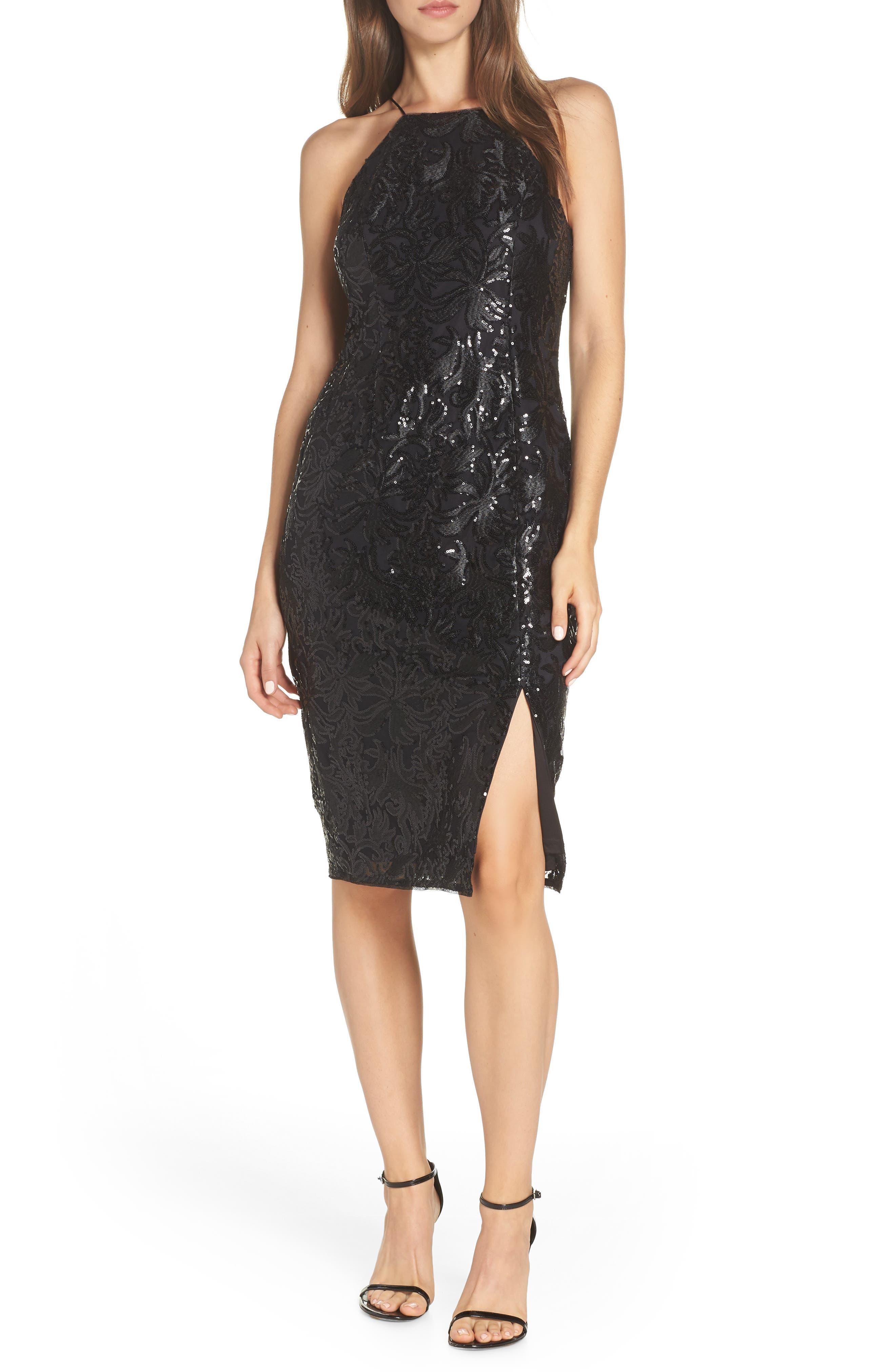 Adrianna Papell Halter Neck Sequin Cocktail Dress, Black