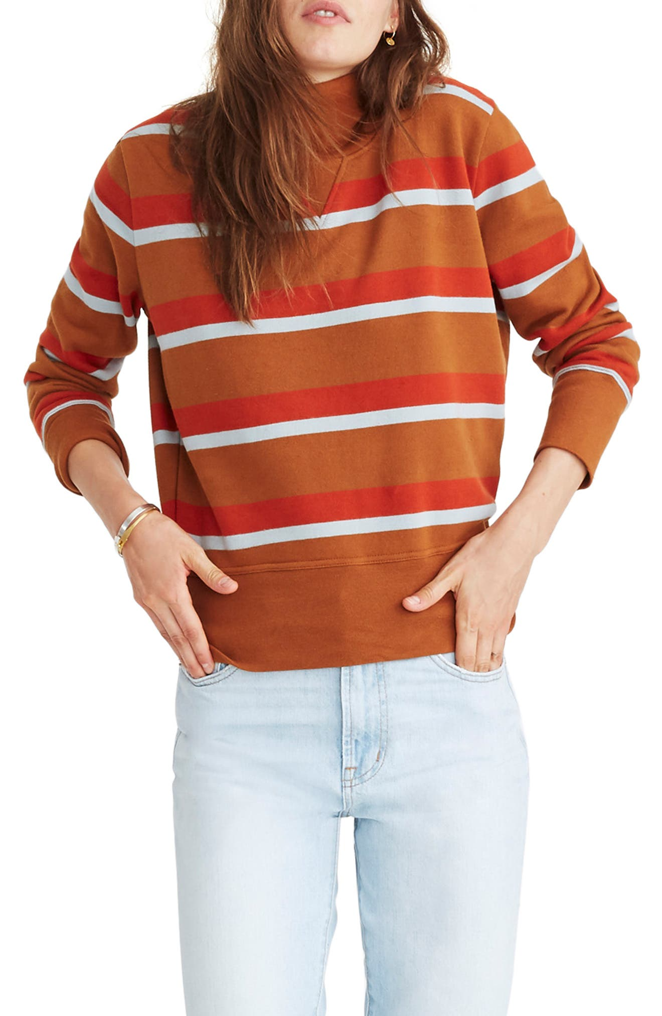 Stripe Turtleneck Sweatshirt,                             Main thumbnail 1, color,                             201